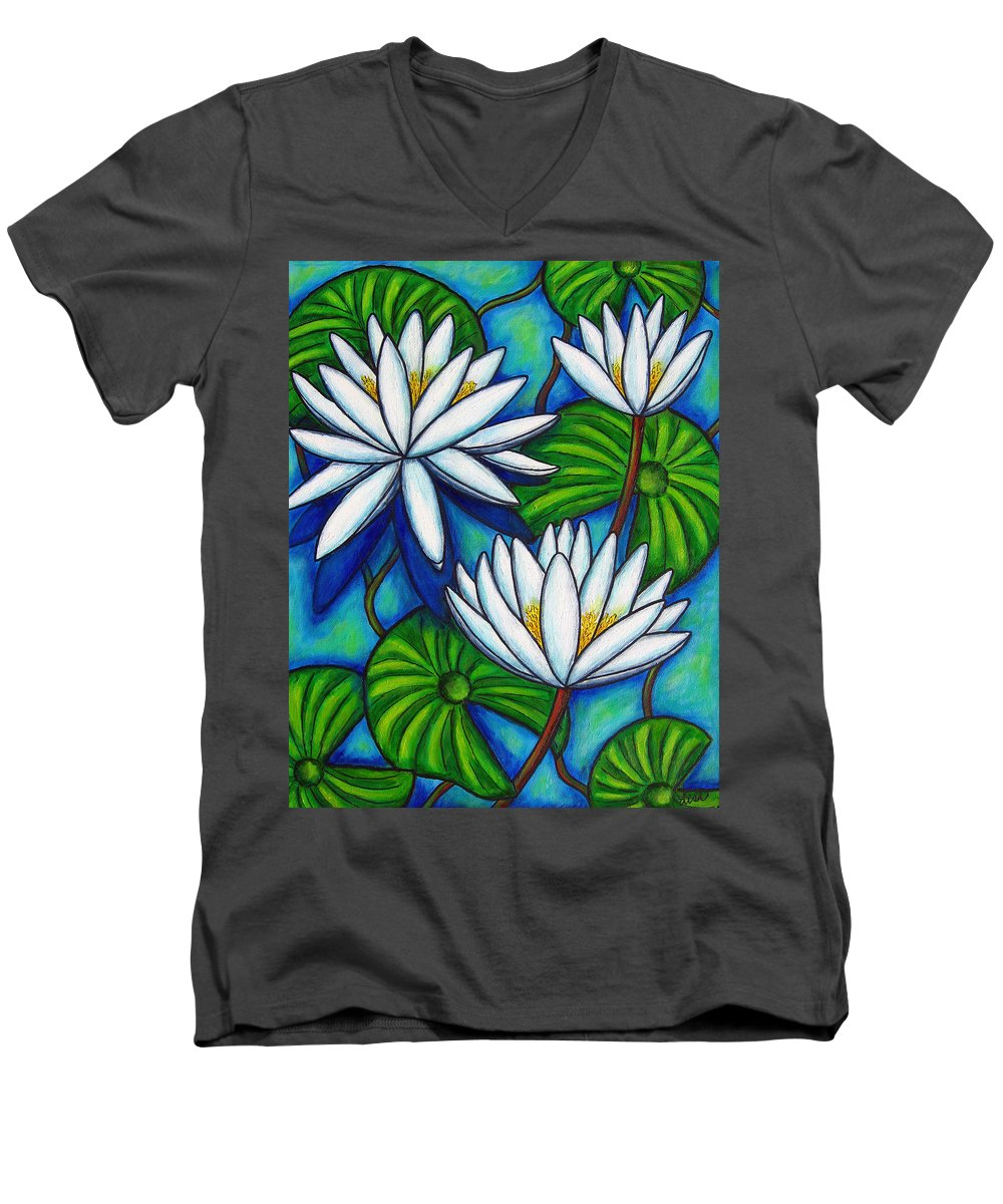 Lily Men's V-Neck T-Shirt featuring the painting Nymphaea Blue by Lisa Lorenz