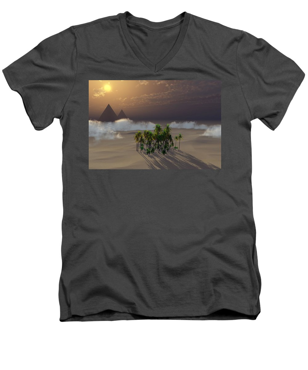 Deserts Men's V-Neck T-Shirt featuring the digital art Oasis by Richard Rizzo