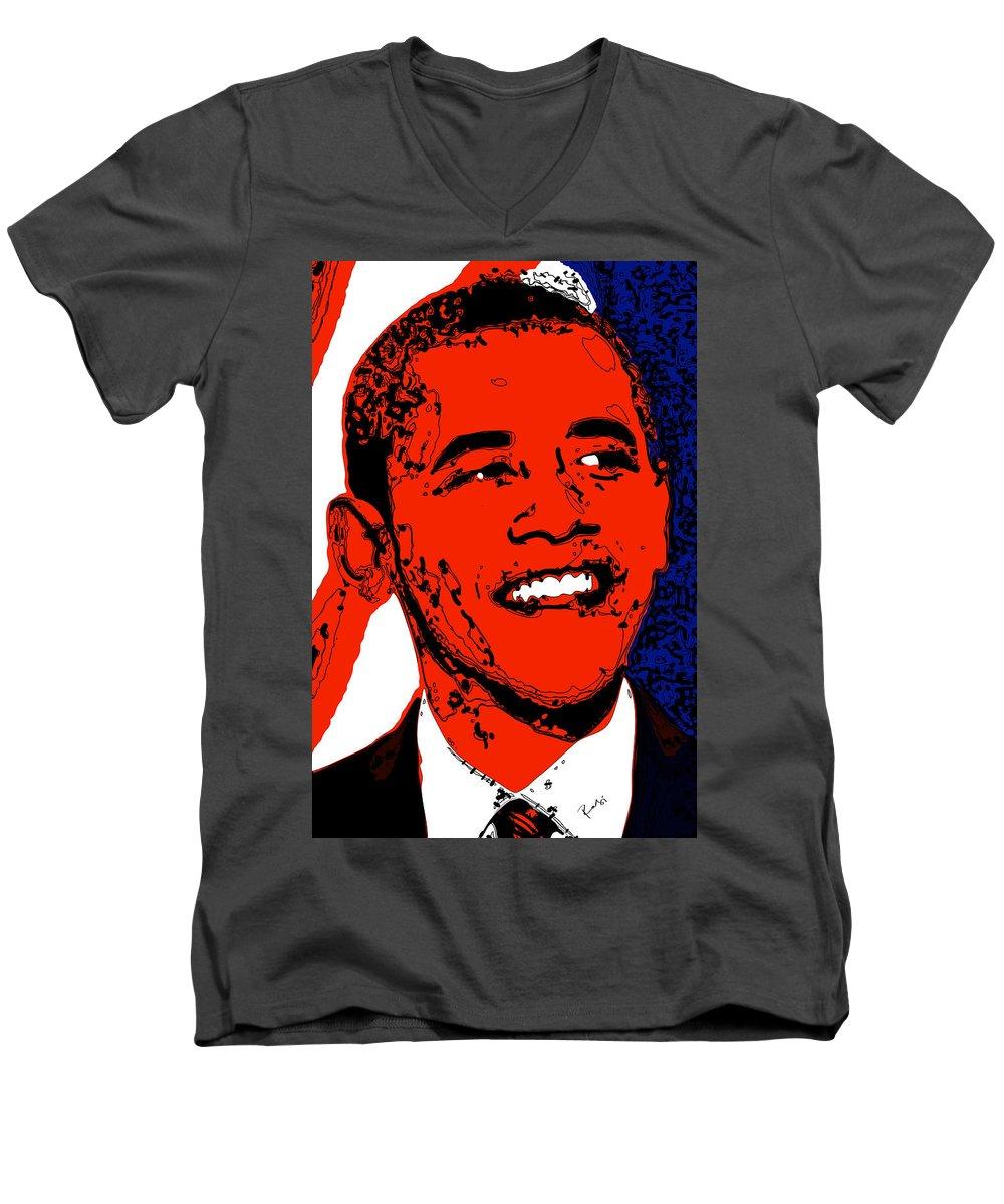 African Men's V-Neck T-Shirt featuring the digital art Obama Hope by Rabi Khan