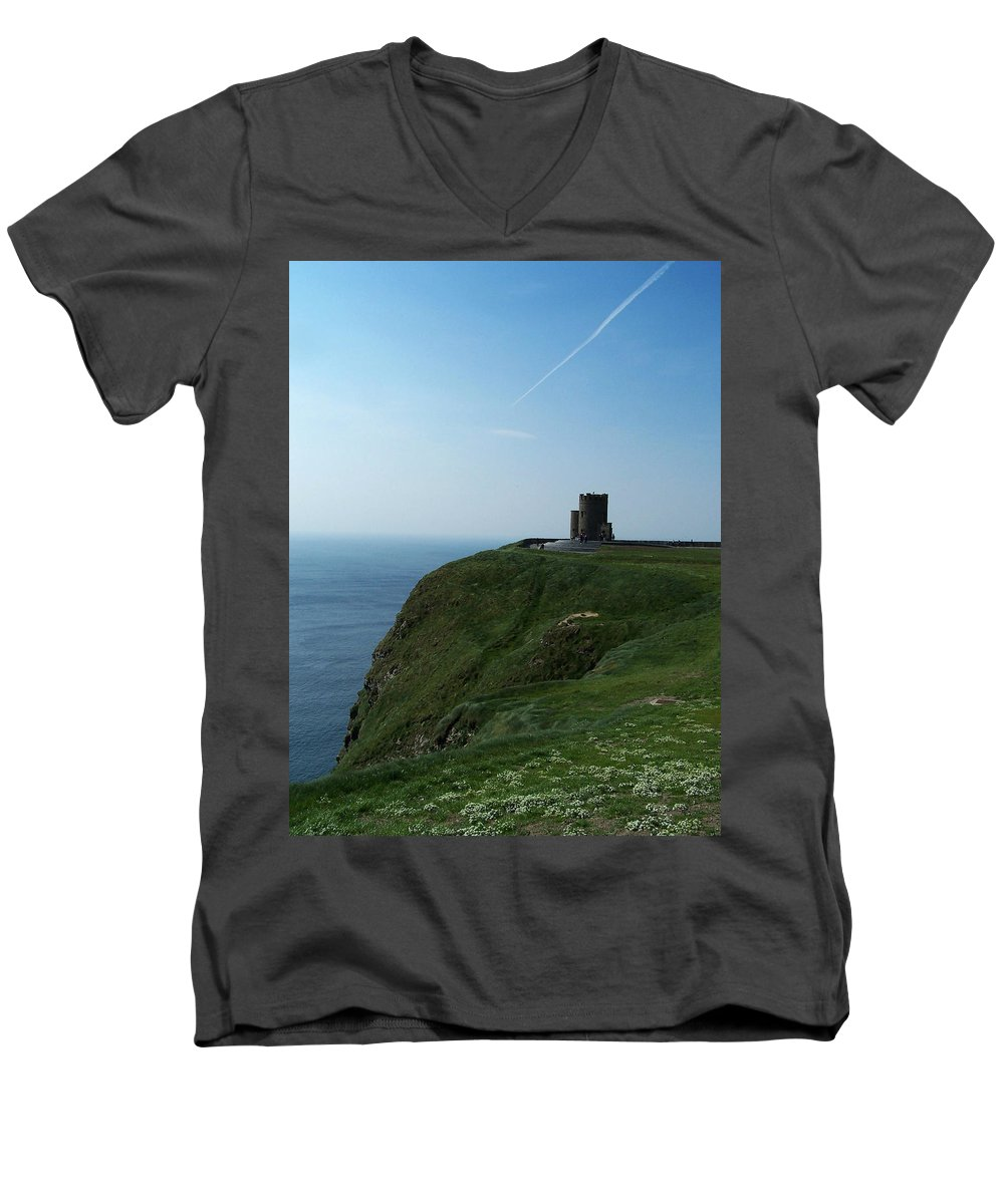 Irish Men's V-Neck T-Shirt featuring the photograph O'brien's Tower At The Cliffs Of Moher Ireland by Teresa Mucha