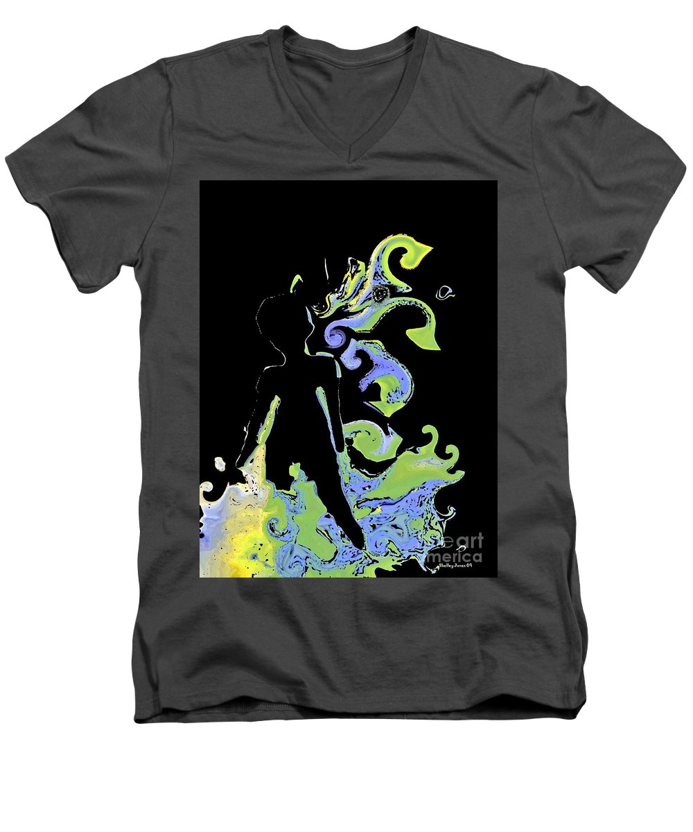 Ocean Men's V-Neck T-Shirt featuring the digital art Ocean by Shelley Jones