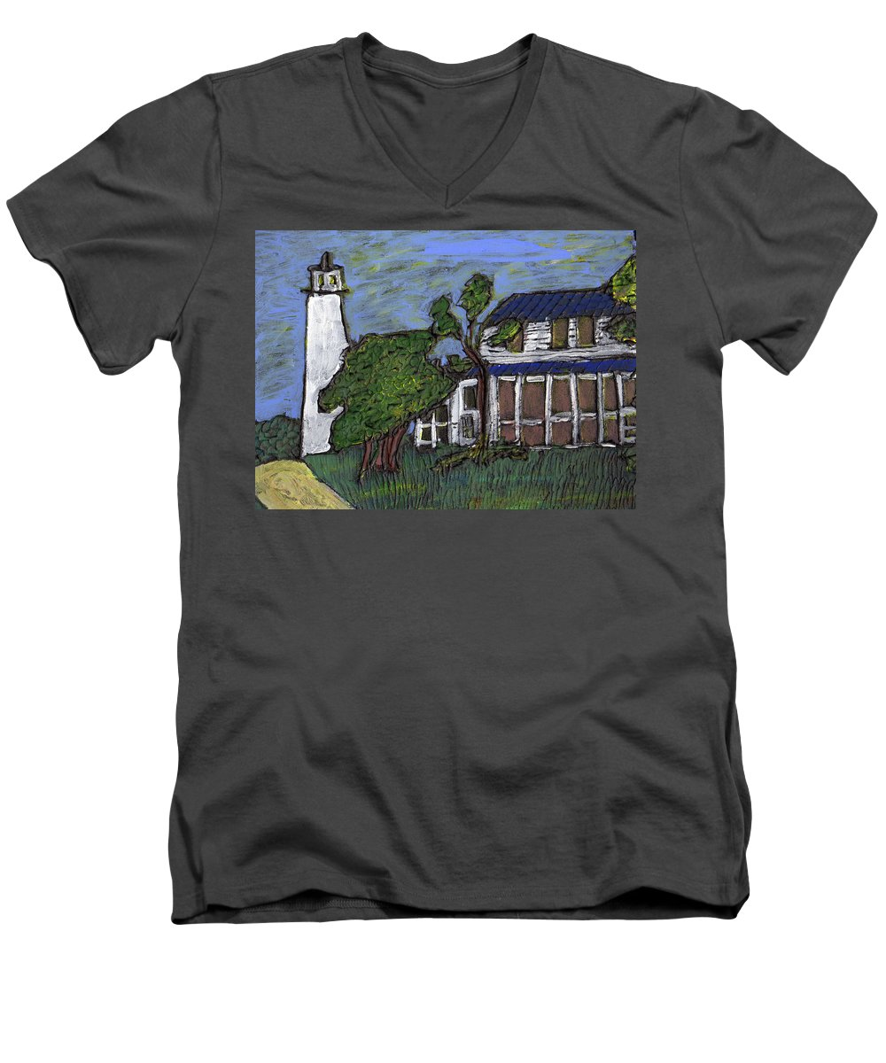 Light House Men's V-Neck T-Shirt featuring the painting Ocracoke Island Light House by Wayne Potrafka