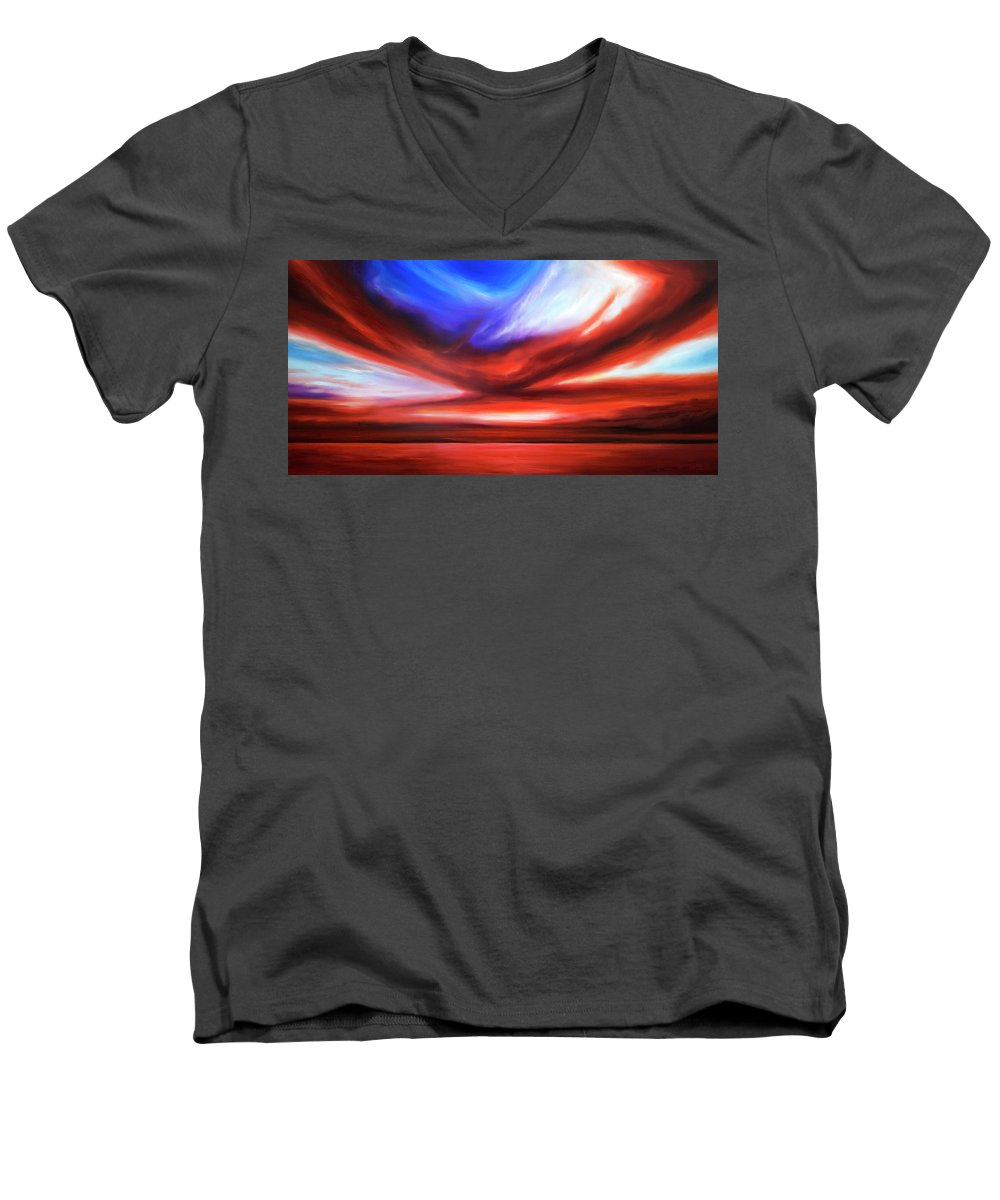 Sunrise; Sunset; Power; Glory; Cloudscape; Skyscape; Purple; Red; Blue; Stunning; Landscape; James C. Hill; James Christopher Hill; Jameshillgallery.com; Ocean; Lakes; Storm; Tornado; Lightning Men's V-Neck T-Shirt featuring the painting October Sky V by James Christopher Hill