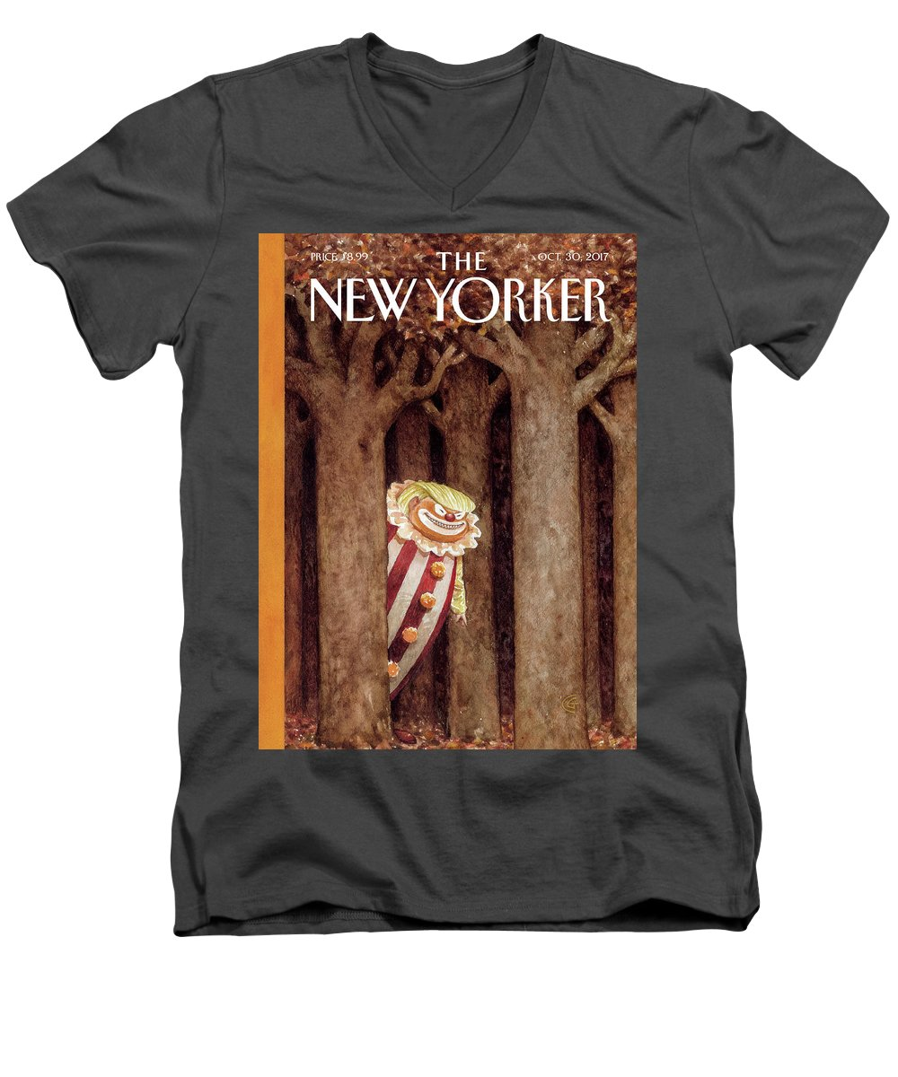 October Surprise Men's V-Neck T-Shirt featuring the drawing October Surprise by Carter Goodrich