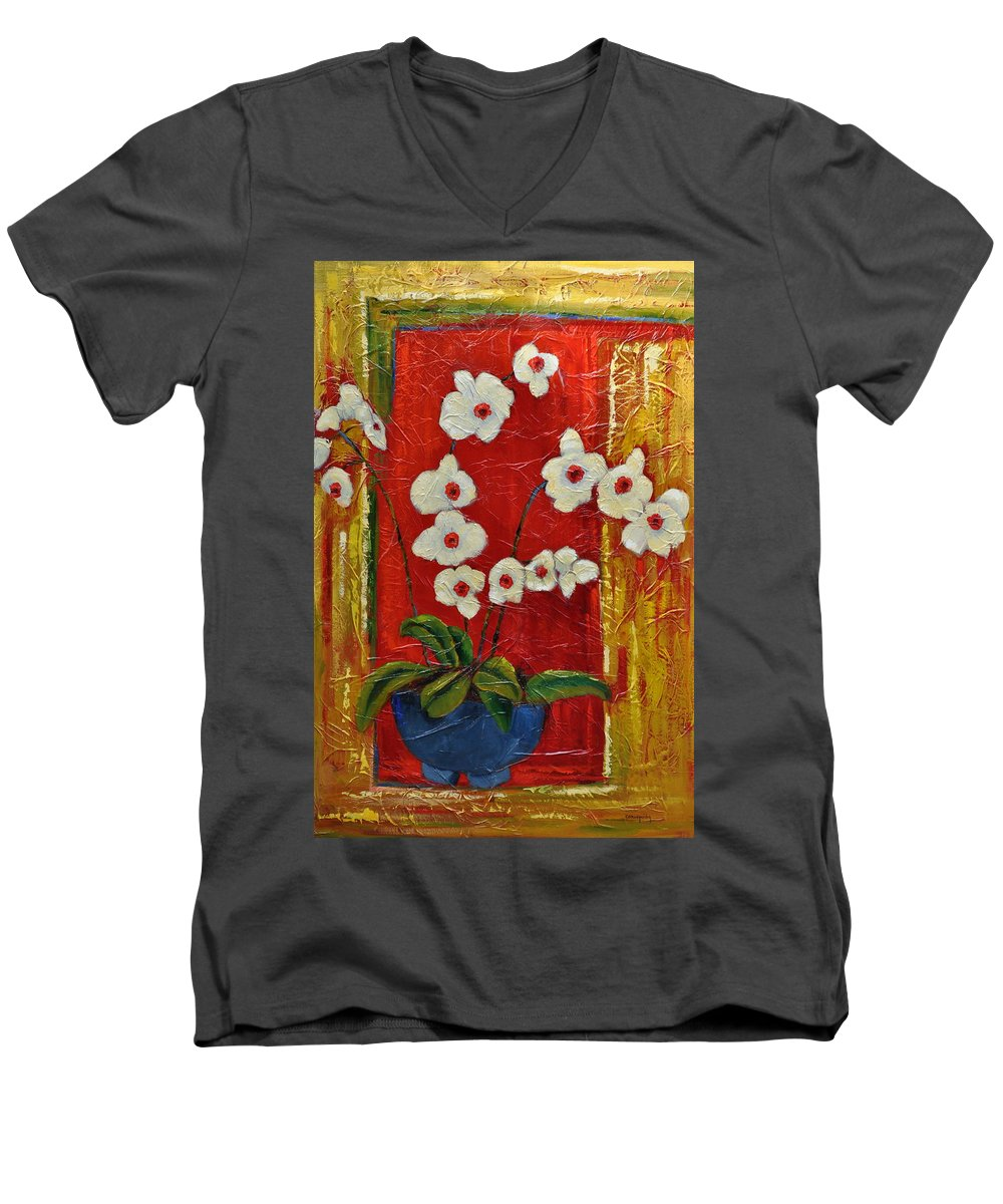 Orchids Men's V-Neck T-Shirt featuring the painting Ode To Orchids by Ginger Concepcion