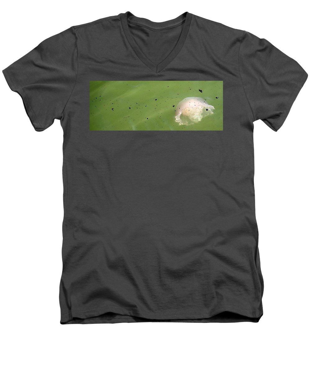 Oil Spill Men's V-Neck T-Shirt featuring the photograph Oil Vs Jellyfish by Kurt Hausmann