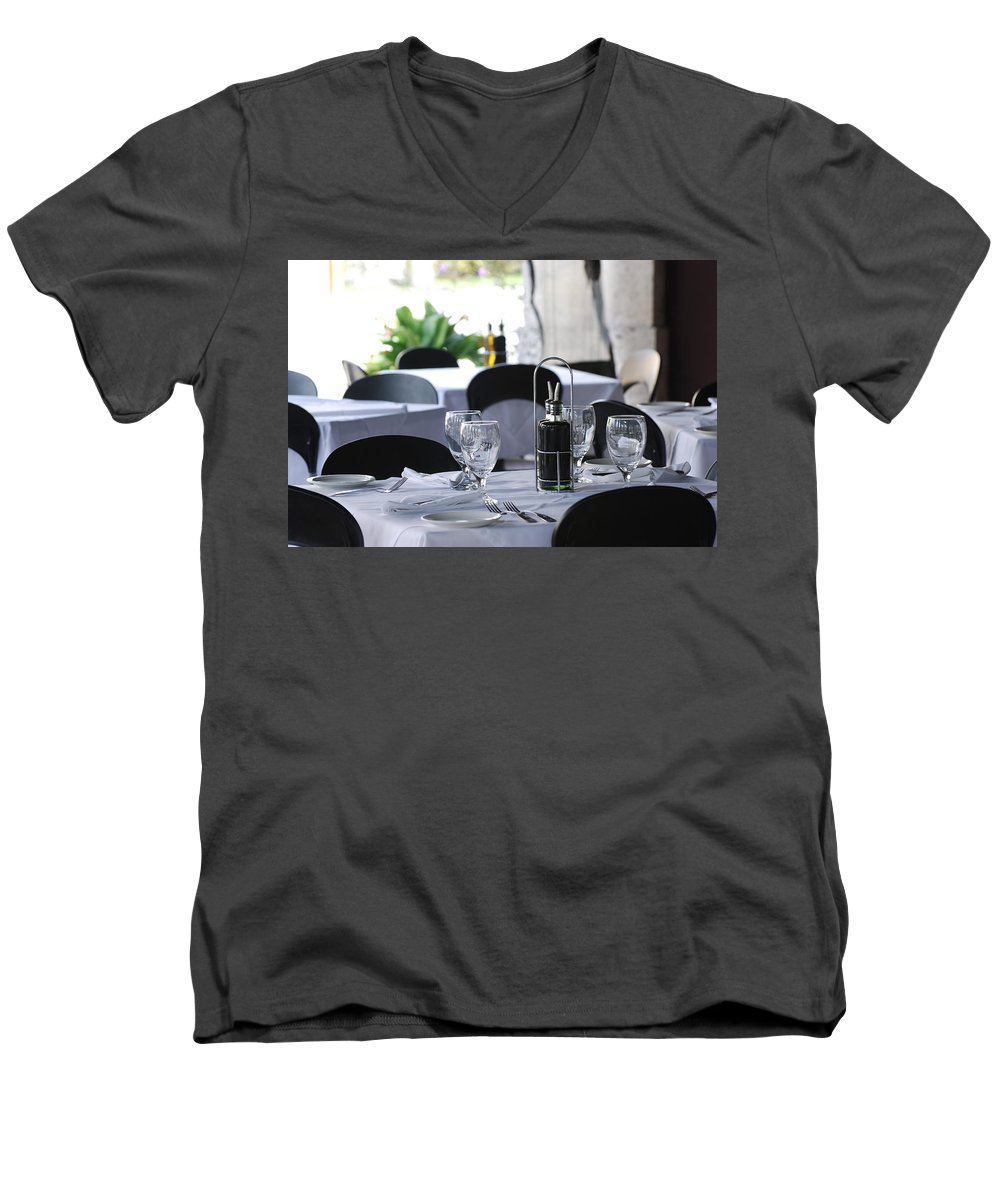 Tables Men's V-Neck T-Shirt featuring the photograph Oils And Glass At Dinner by Rob Hans