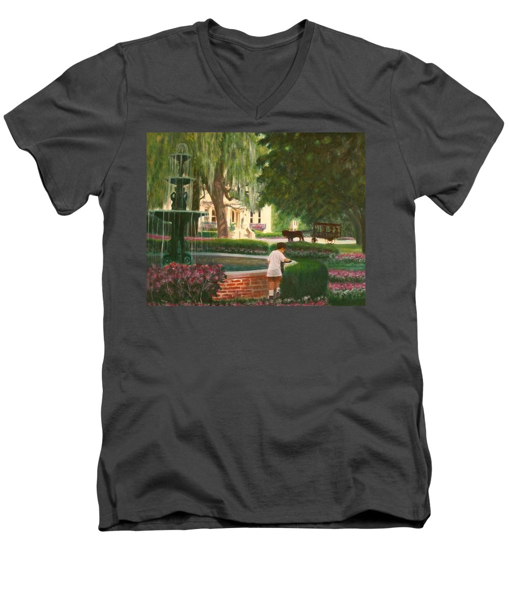 Savannah; Fountain; Child; House Men's V-Neck T-Shirt featuring the painting Old And Young Of Savannah by Ben Kiger