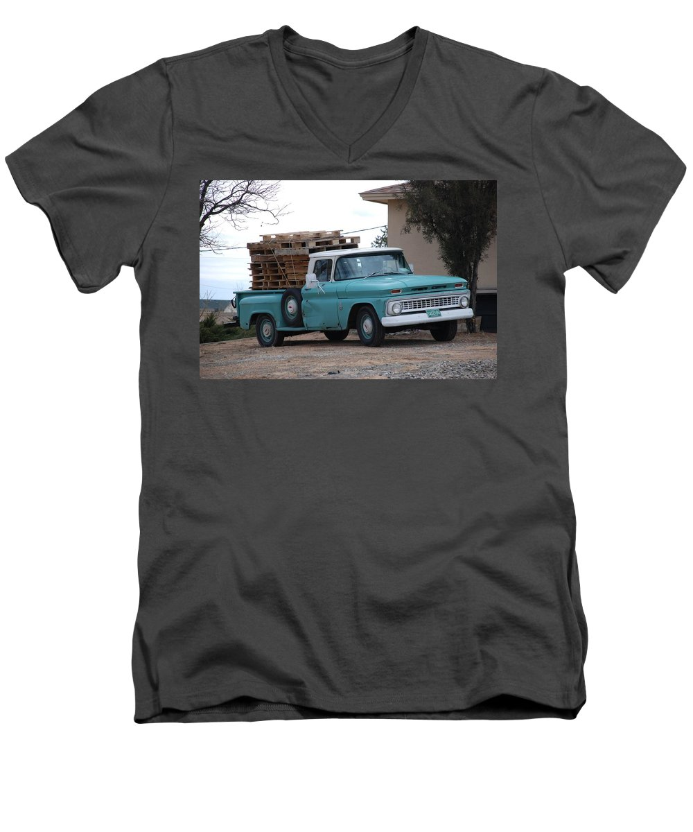 Old Truck Men's V-Neck T-Shirt featuring the photograph Old Chevy by Rob Hans