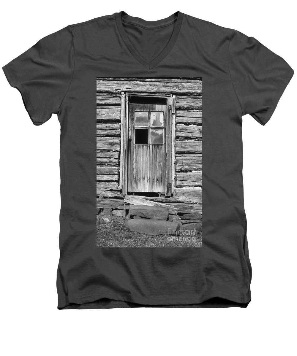 Aged Men's V-Neck T-Shirt featuring the photograph Old Door by Richard Rizzo
