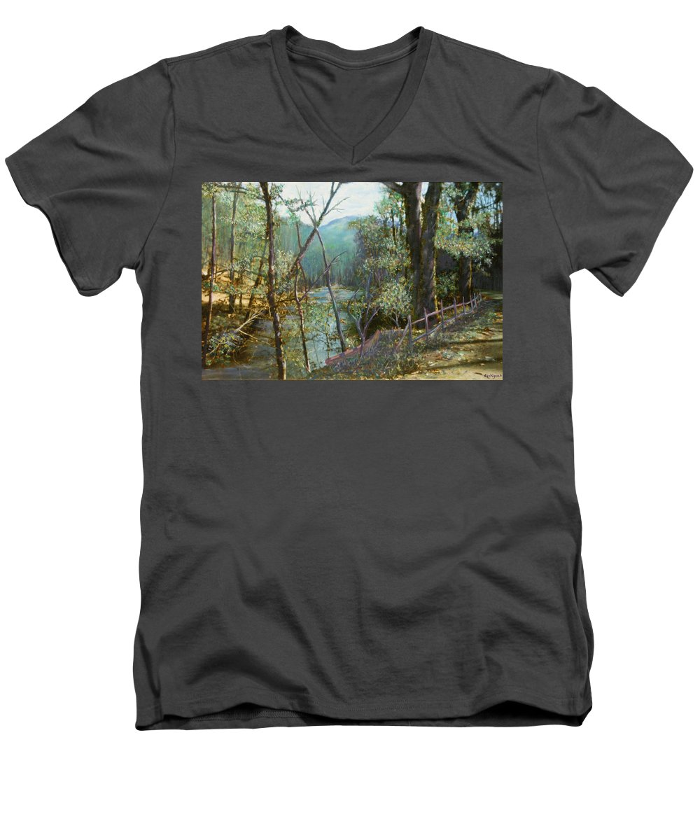 River; Trees; Landscape Men's V-Neck T-Shirt featuring the painting Old Man River by Ben Kiger