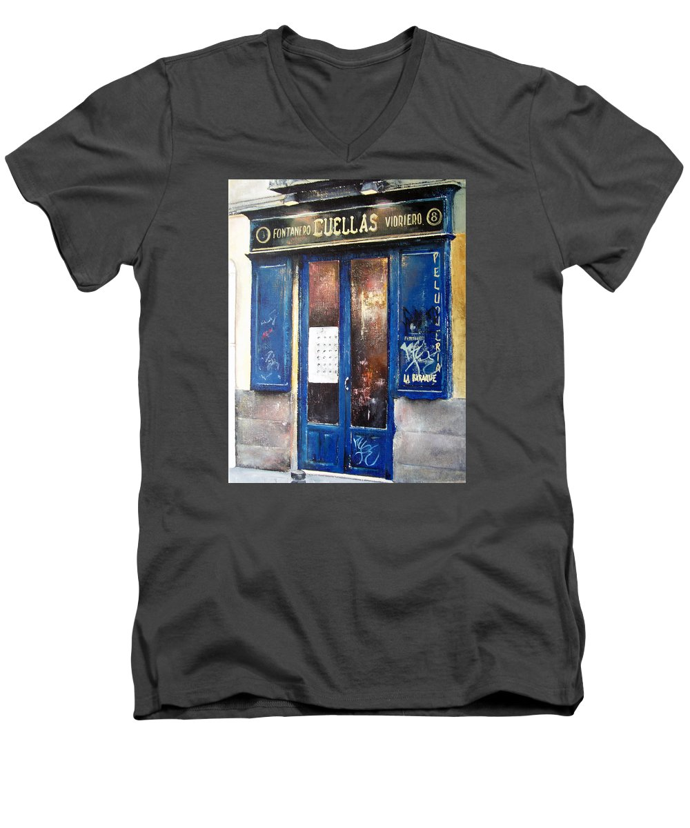 Old Men's V-Neck T-Shirt featuring the painting Old Plumbing-madrid by Tomas Castano