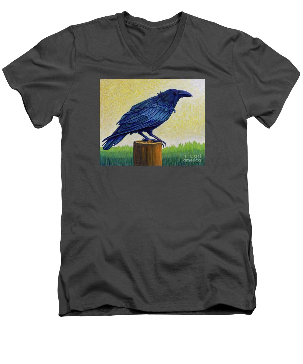 Raven Men's V-Neck T-Shirt featuring the painting Old Priest In Passion by Brian Commerford