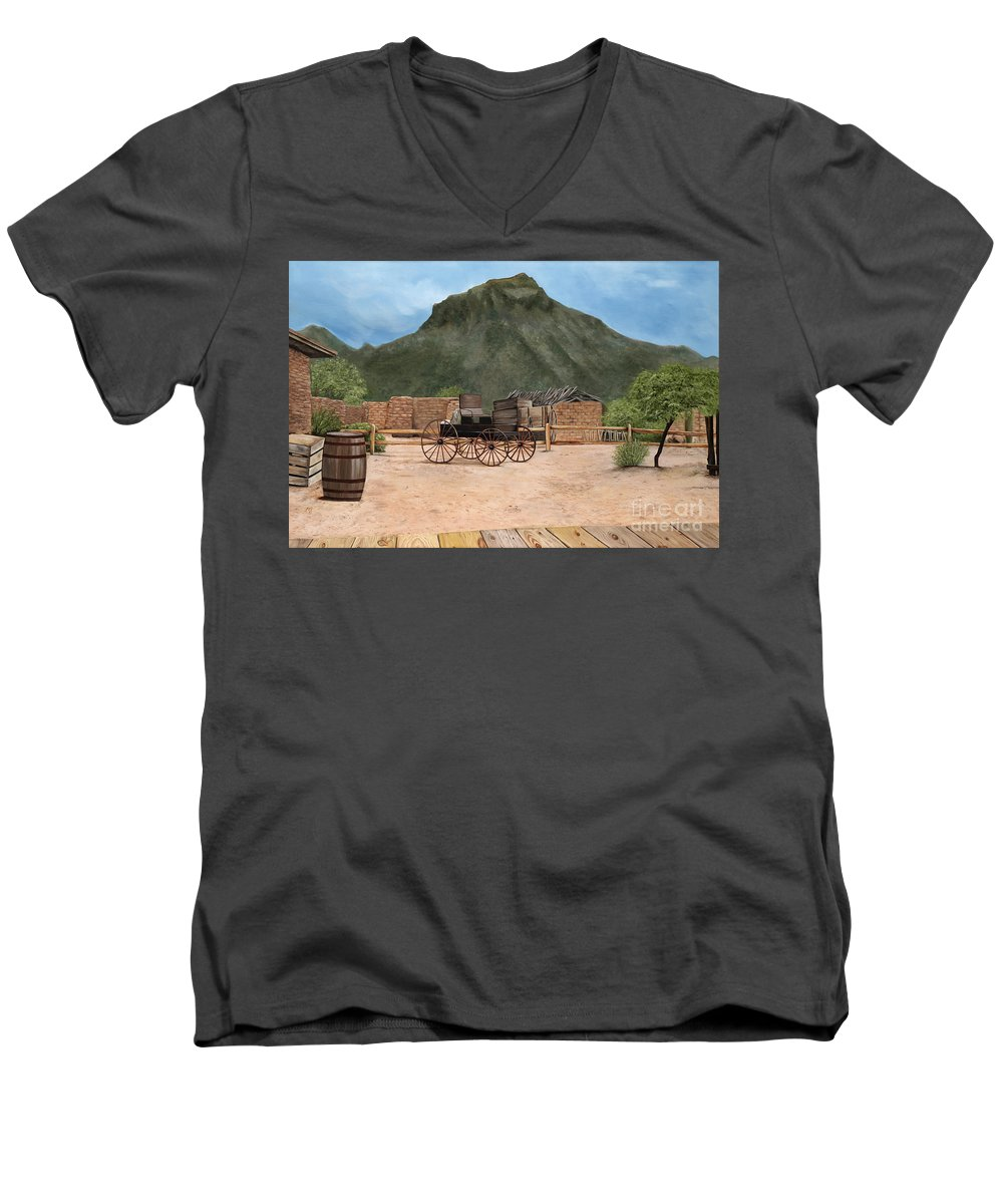Art Men's V-Neck T-Shirt featuring the painting Old Tucson by Mary Rogers