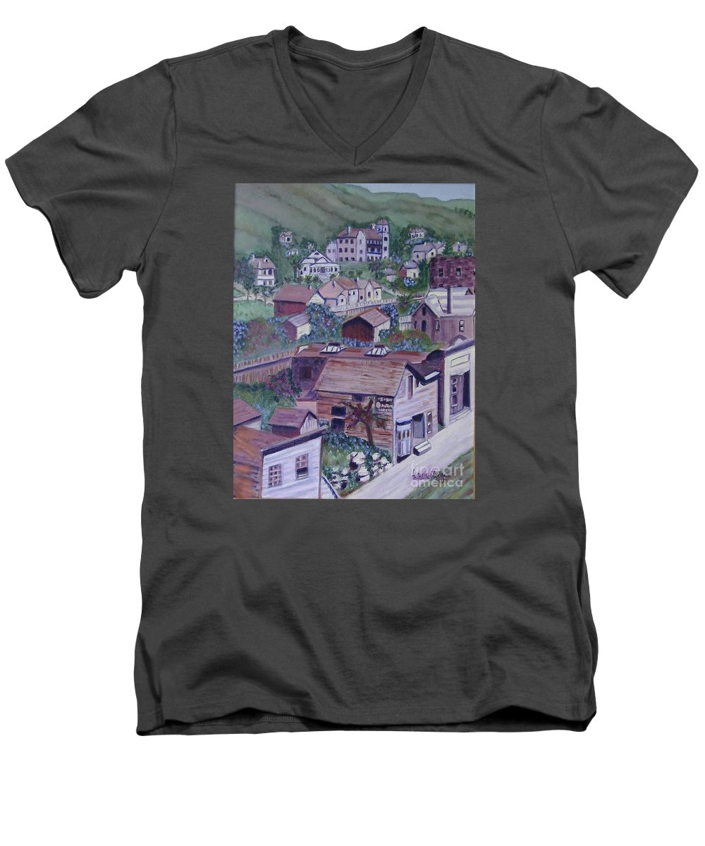 Ventura Men's V-Neck T-Shirt featuring the painting Old Ventura by Laurie Morgan