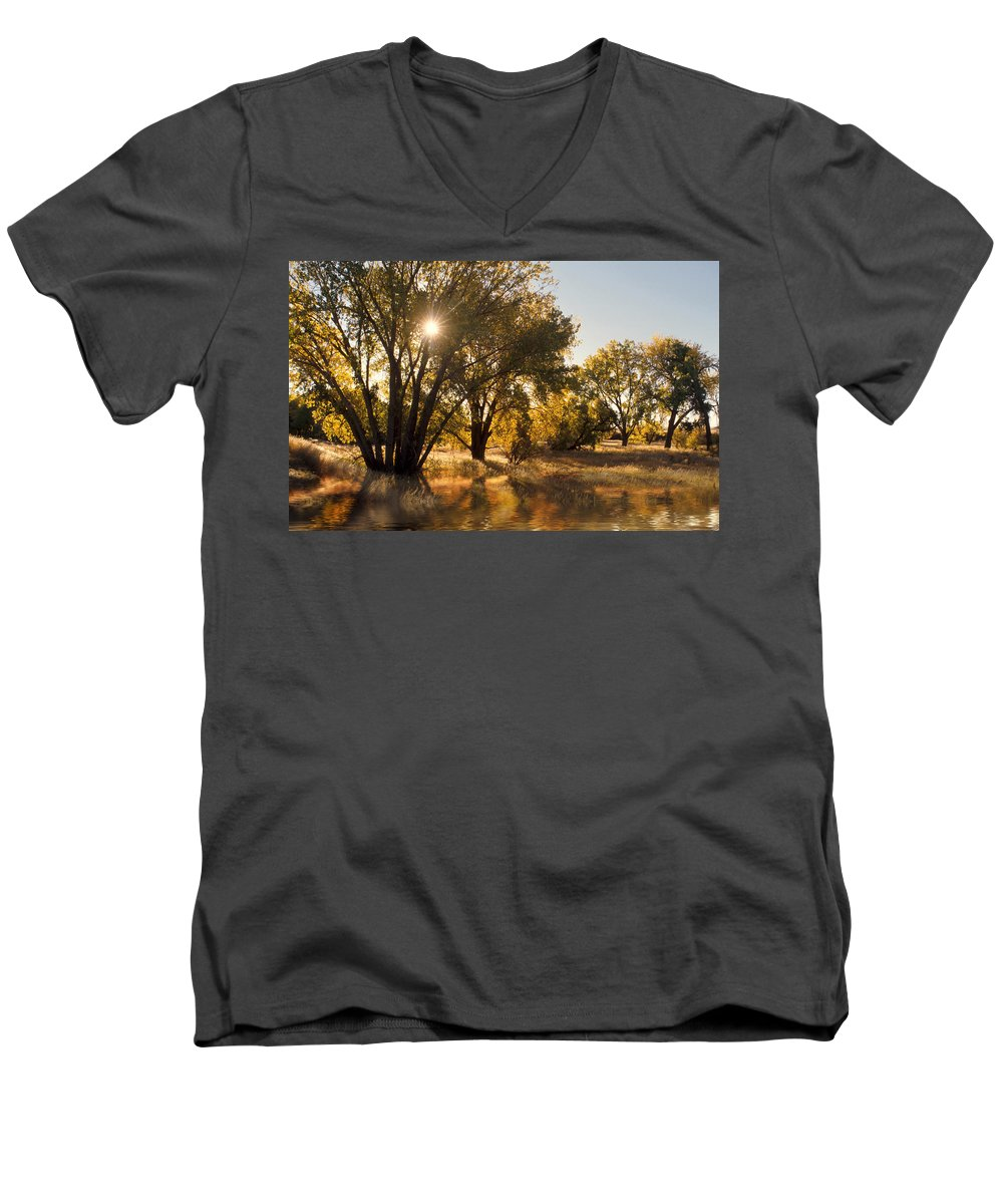 Ftrees Men's V-Neck T-Shirt featuring the photograph Oliver Sunbursts by Jerry McElroy