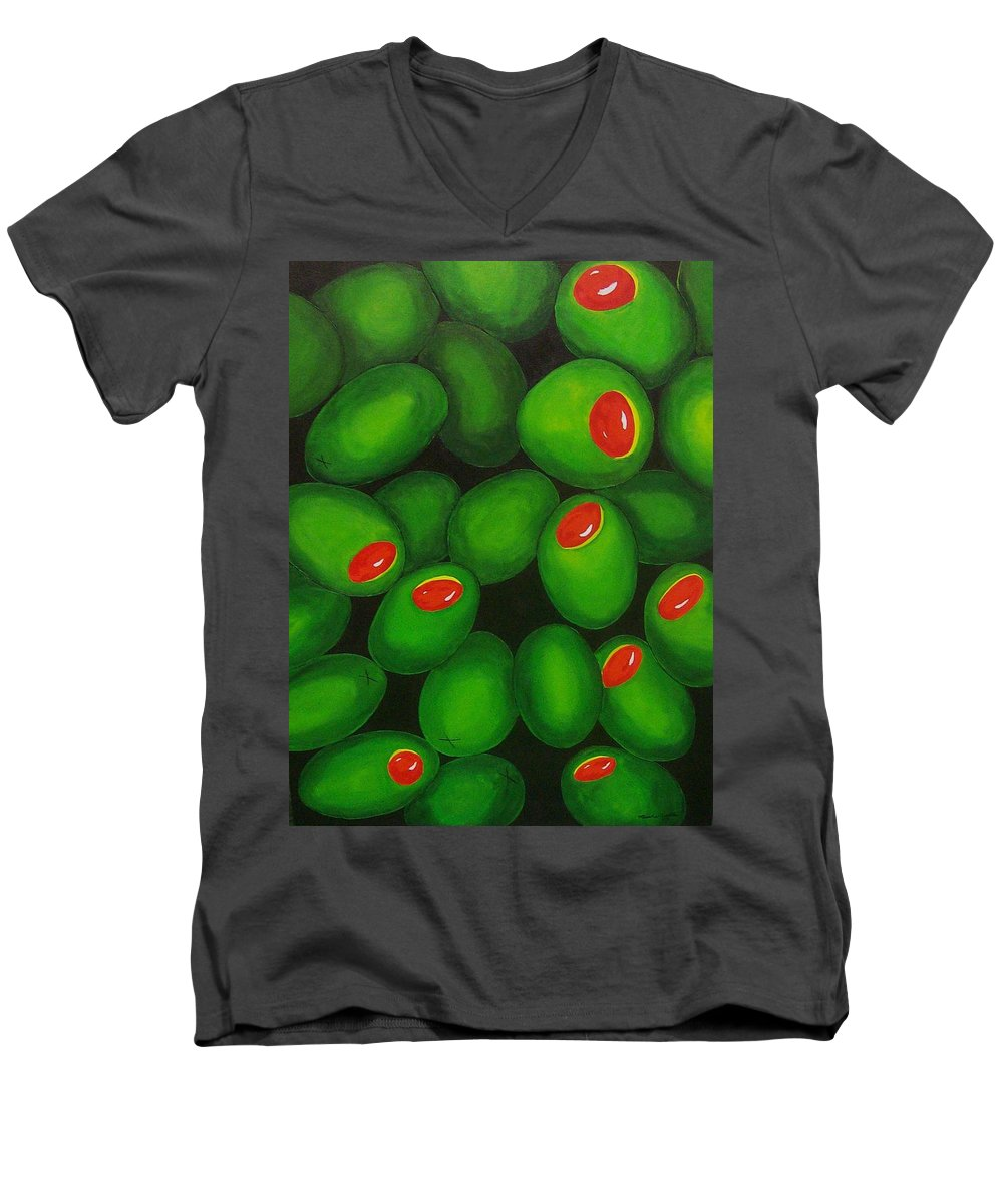 Olive Men's V-Neck T-Shirt featuring the painting Olives by Micah Guenther