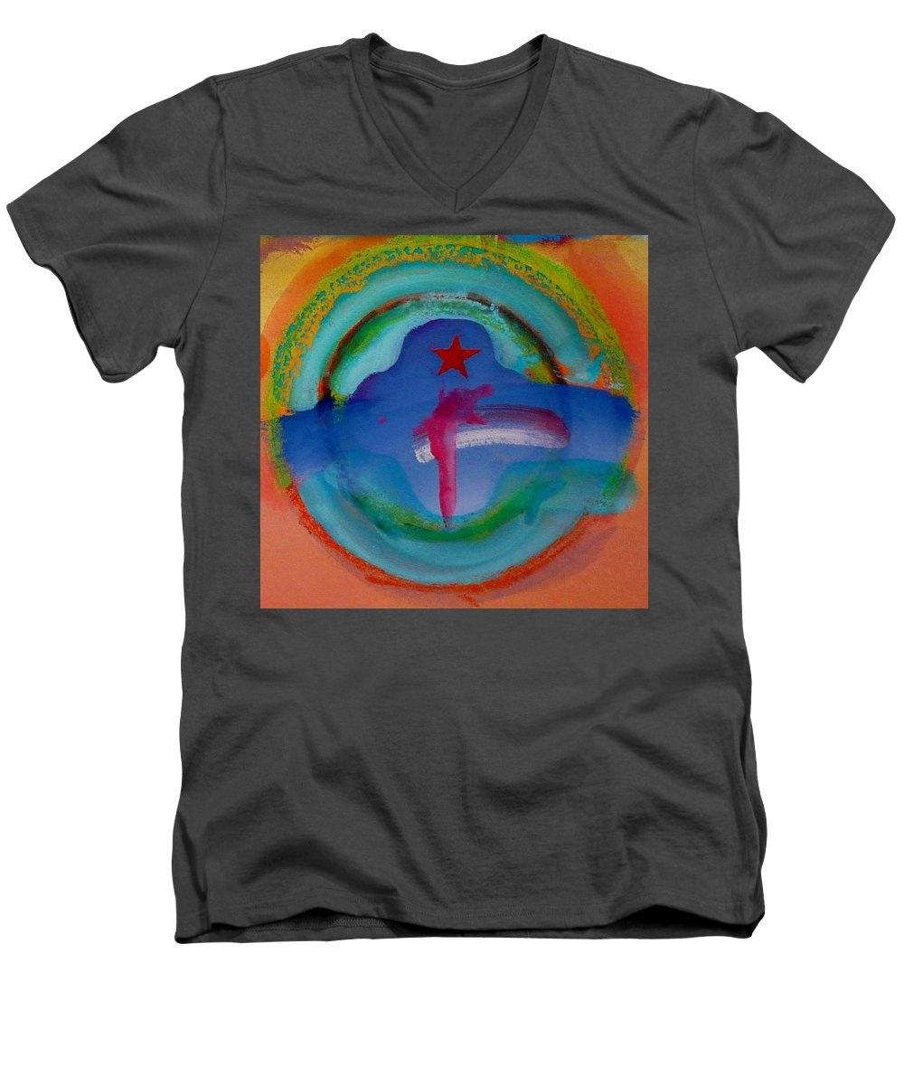 Logo Men's V-Neck T-Shirt featuring the painting one by Charles Stuart