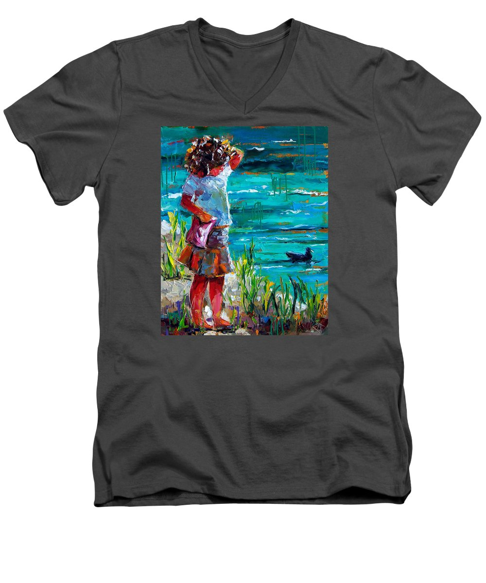 Children Men's V-Neck T-Shirt featuring the painting One Lucky Duck by Debra Hurd