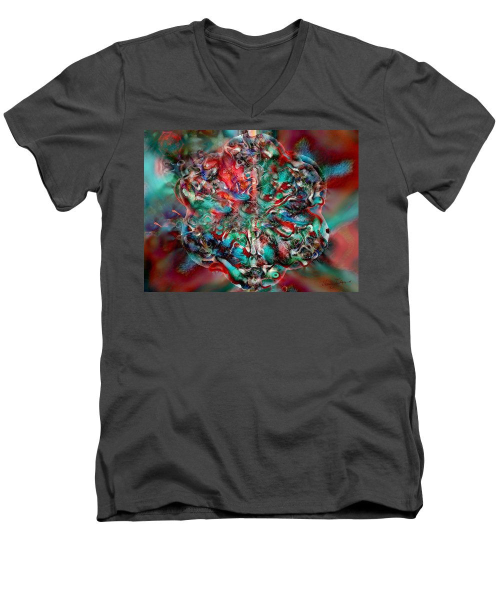 Heart Passion Life Men's V-Neck T-Shirt featuring the digital art Open Heart by Veronica Jackson