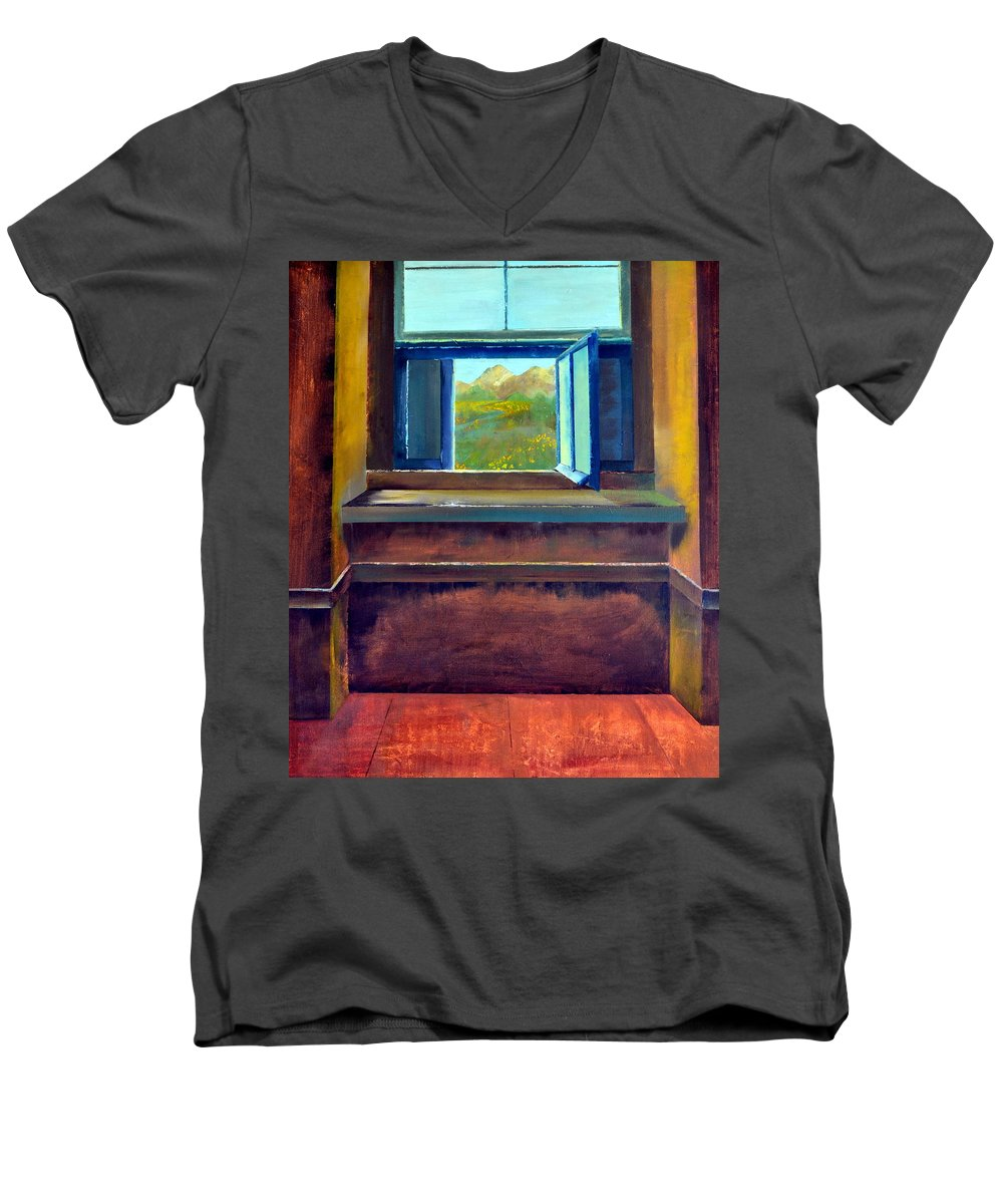 Trompe L'oeil Men's V-Neck T-Shirt featuring the painting Open Window by Michelle Calkins