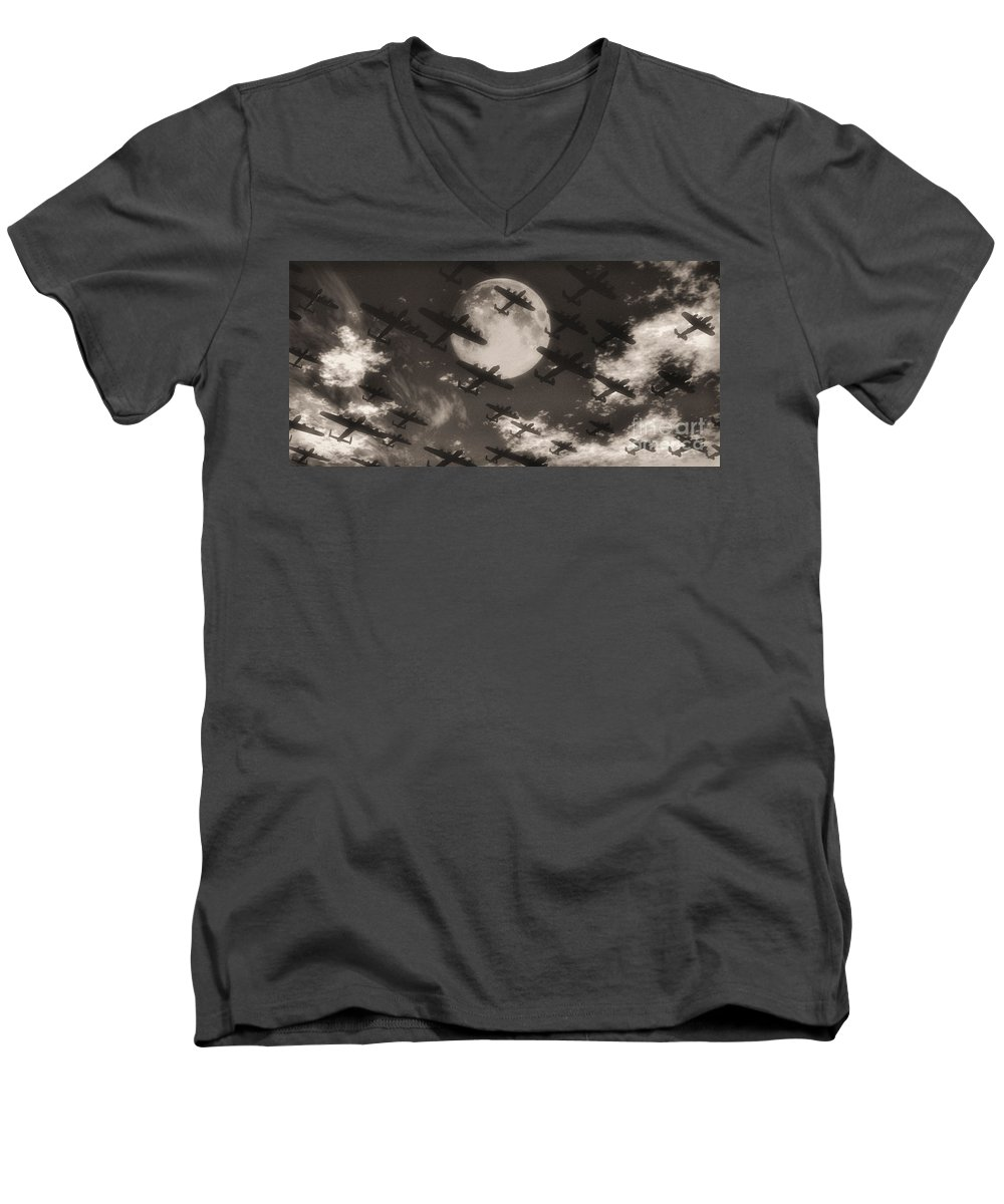 Aviaton Men's V-Neck T-Shirt featuring the digital art Operation Moonlight by Richard Rizzo