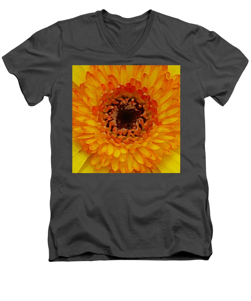 Daisy Men's V-Neck T-Shirt featuring the painting Orange And Black Gerber Center by Amy Vangsgard