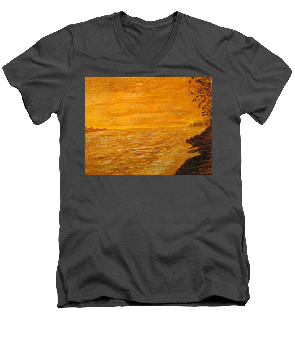 Ocean Men's V-Neck T-Shirt featuring the painting Orange Beach by Ian MacDonald
