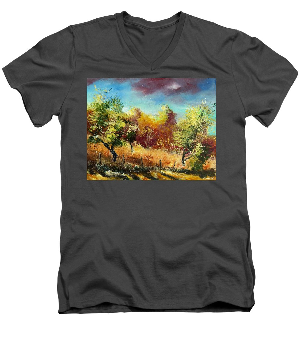 Flowers Men's V-Neck T-Shirt featuring the painting Orchard by Pol Ledent