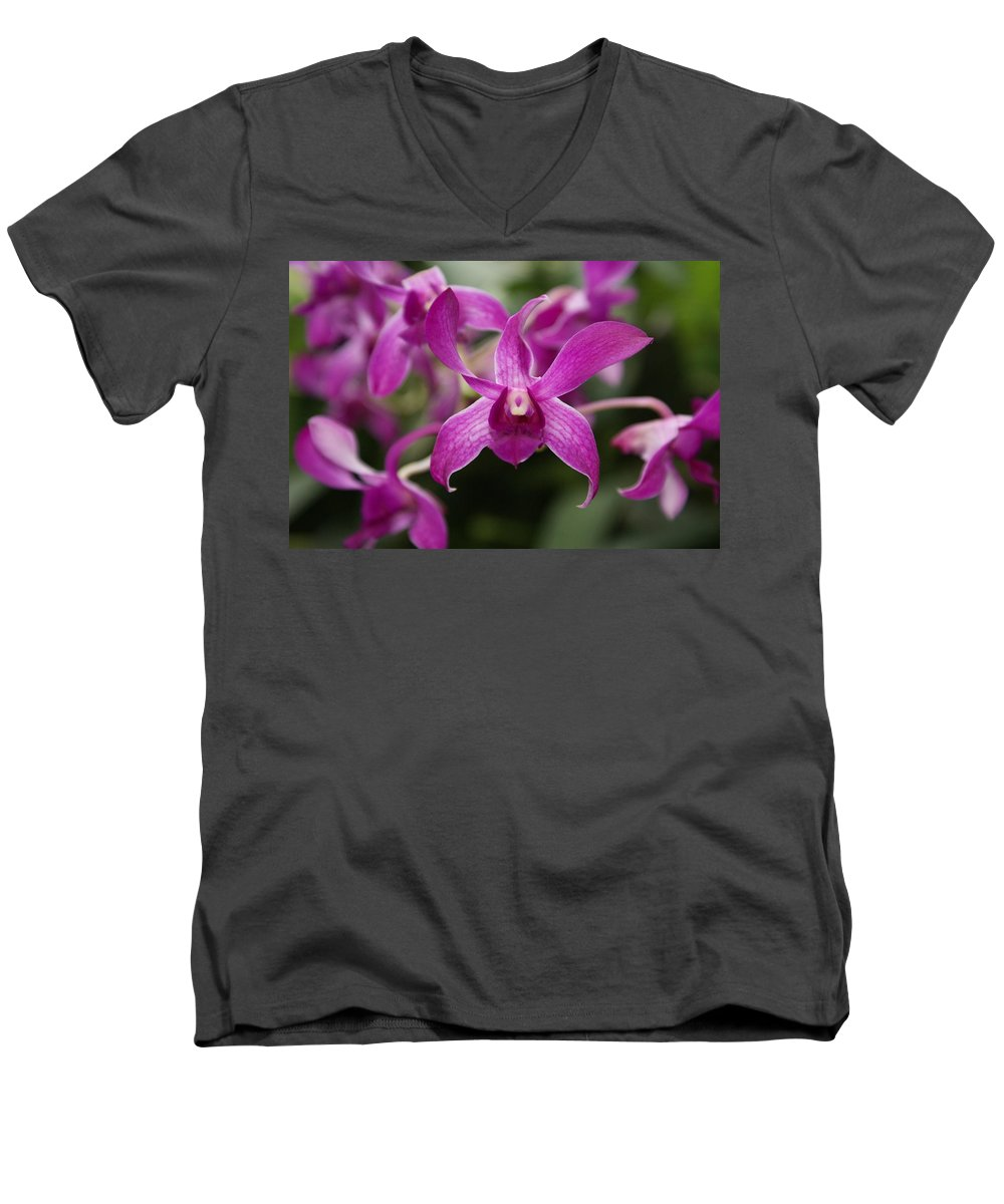 Orchid Men's V-Neck T-Shirt featuring the photograph Orchid by Heather Coen
