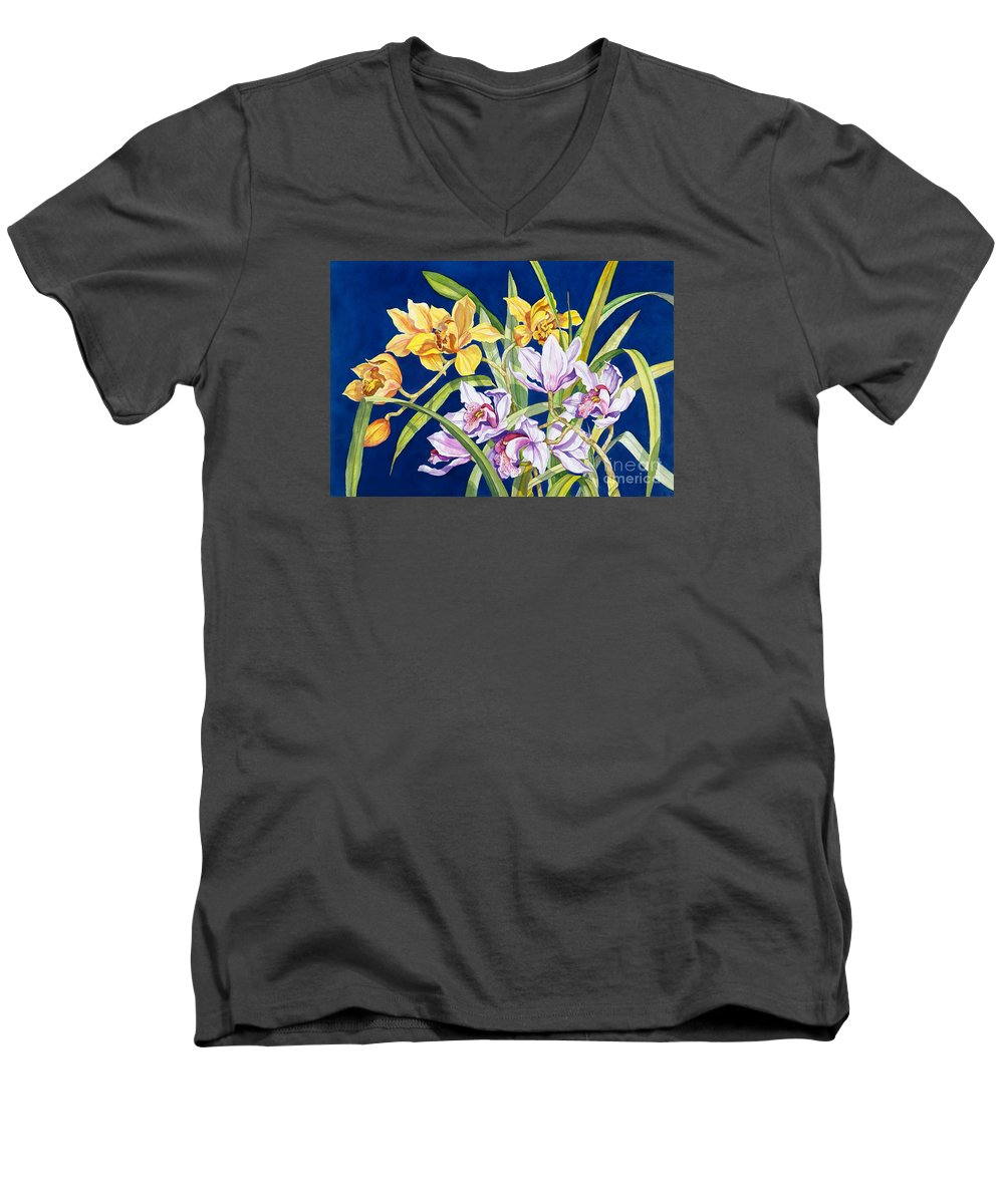 Orchids Men's V-Neck T-Shirt featuring the painting Orchids In Blue by Lucy Arnold