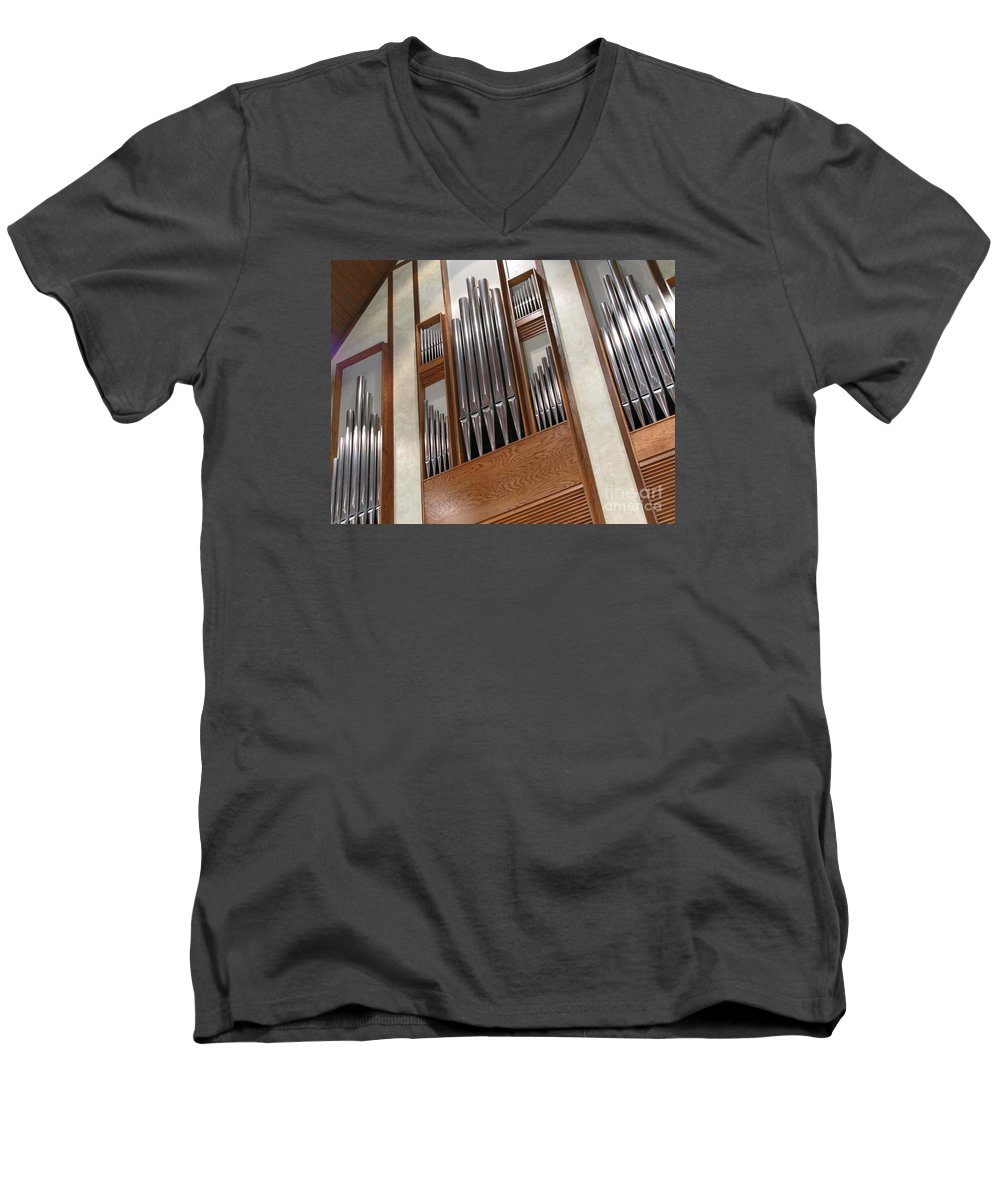 Music Men's V-Neck T-Shirt featuring the photograph Organ Pipes by Ann Horn