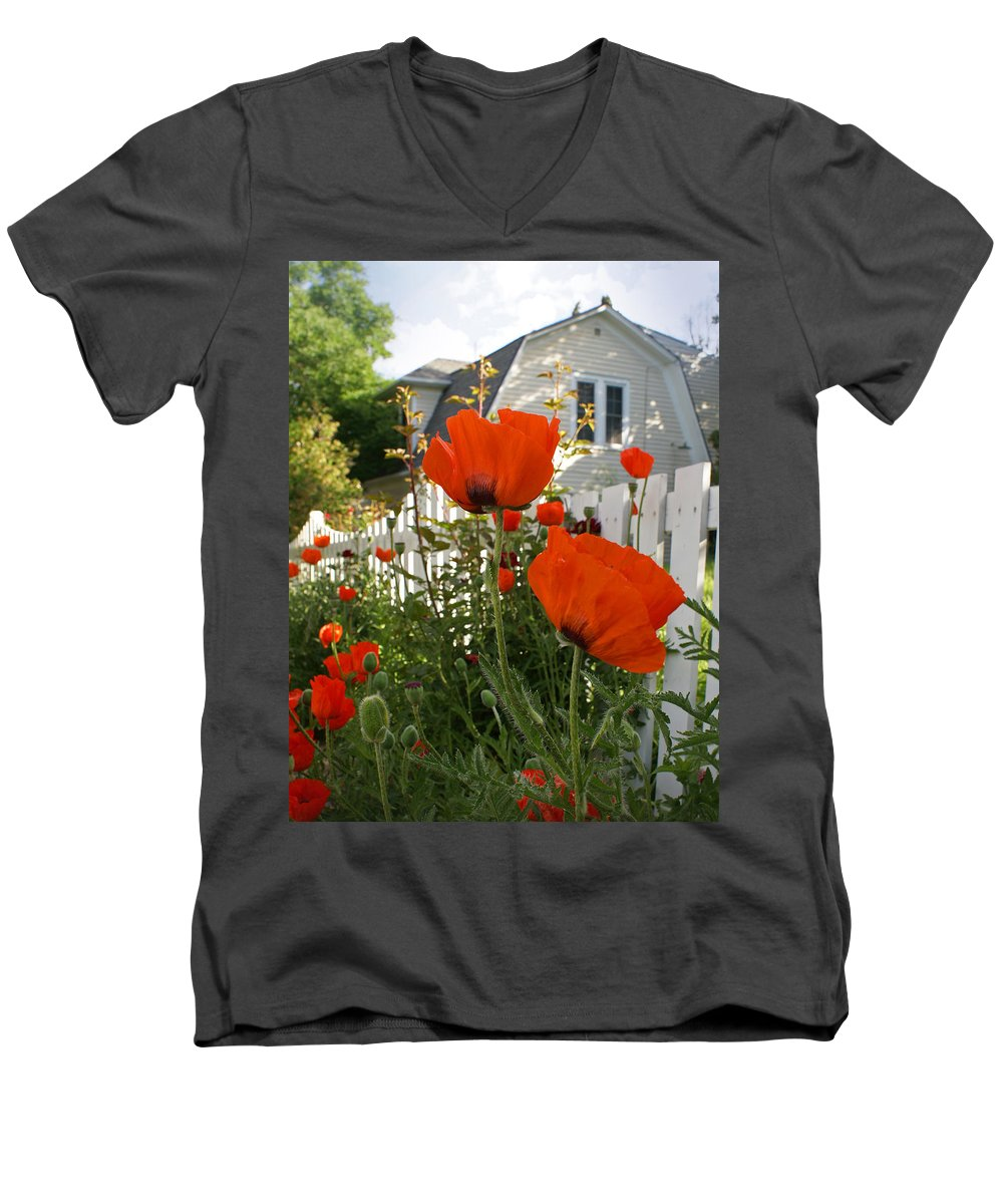 Poppies Men's V-Neck T-Shirt featuring the photograph Oriental Poppies by Heather Coen