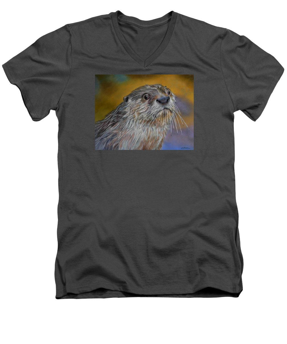 River Otter Men's V-Neck T-Shirt featuring the painting Otter Or Not by Ceci Watson
