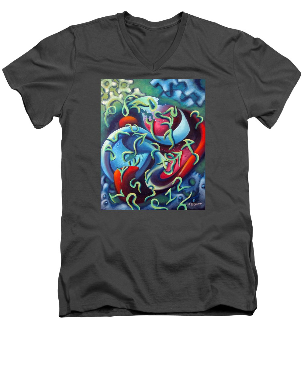 Clocks Men's V-Neck T-Shirt featuring the painting Our Inner Clocks by Elizabeth Lisy Figueroa