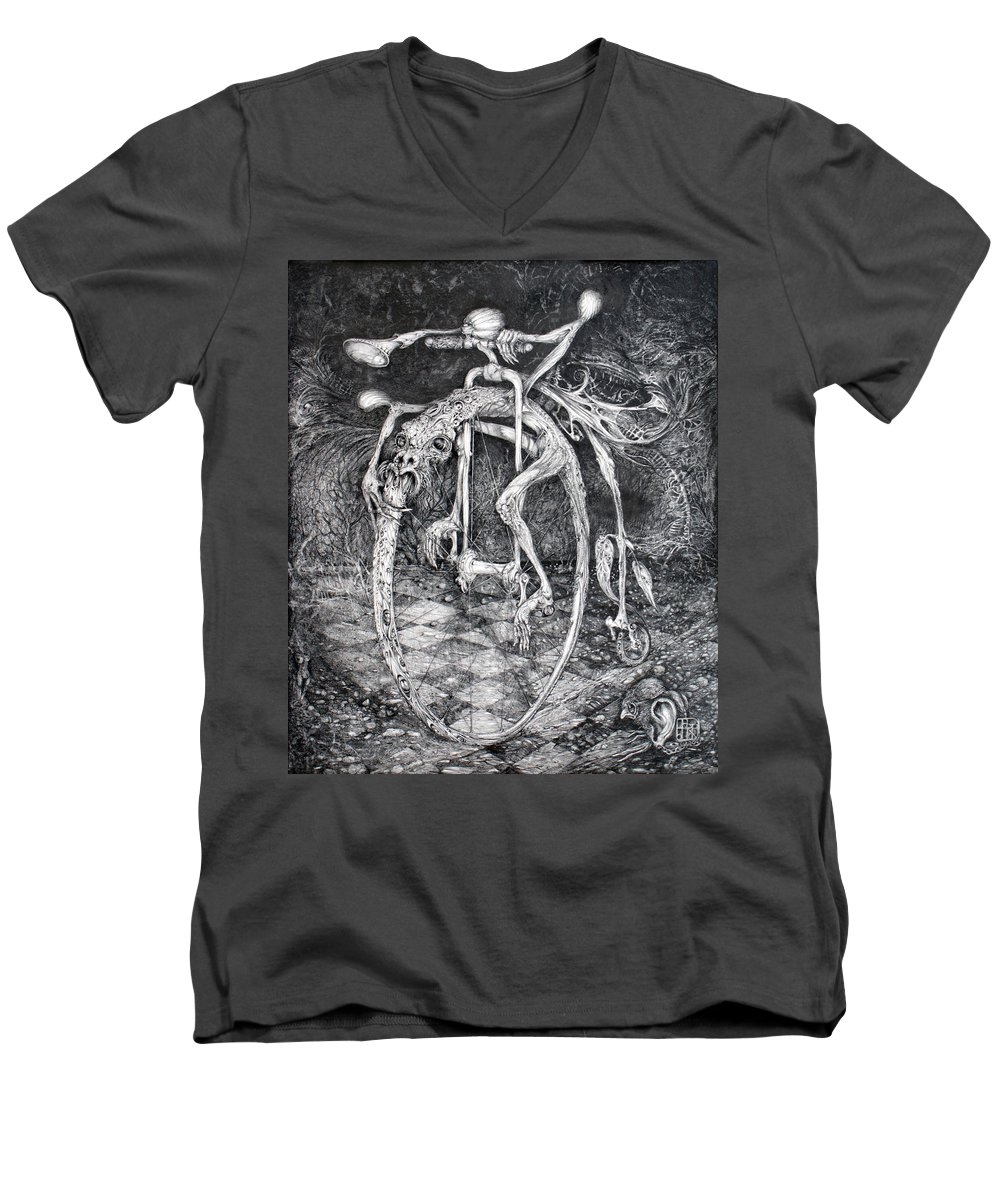 Ouroboros Men's V-Neck T-Shirt featuring the drawing Ouroboros Perpetual Motion Machine by Otto Rapp