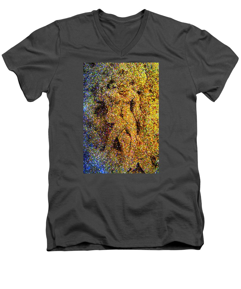 Abstract Men's V-Neck T-Shirt featuring the digital art Out Of Eden by Dave Martsolf