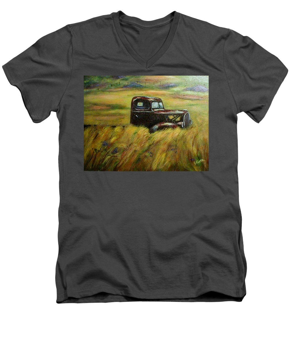 Vintage Truck Men's V-Neck T-Shirt featuring the painting Out To Pasture by Gail Kirtz
