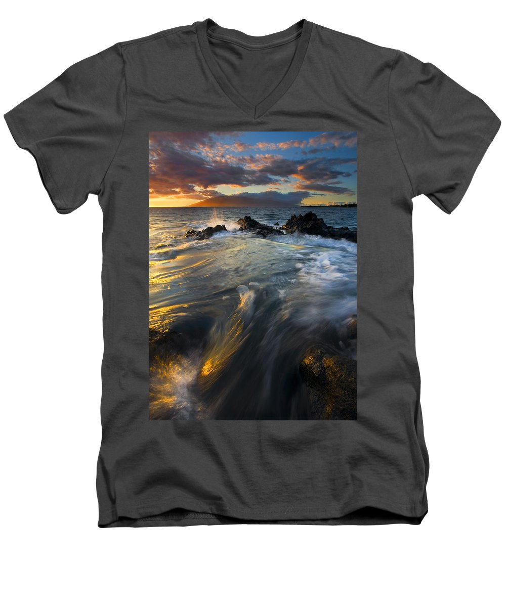 Cauldron Men's V-Neck T-Shirt featuring the photograph Overflow by Mike Dawson