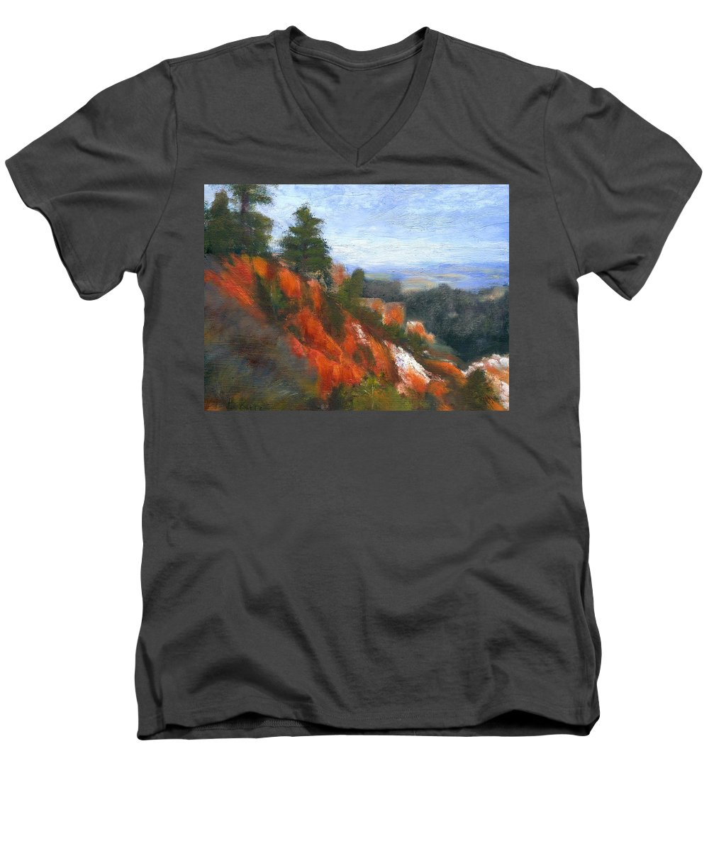 Southwest Men's V-Neck T-Shirt featuring the painting Overlook by Gail Kirtz