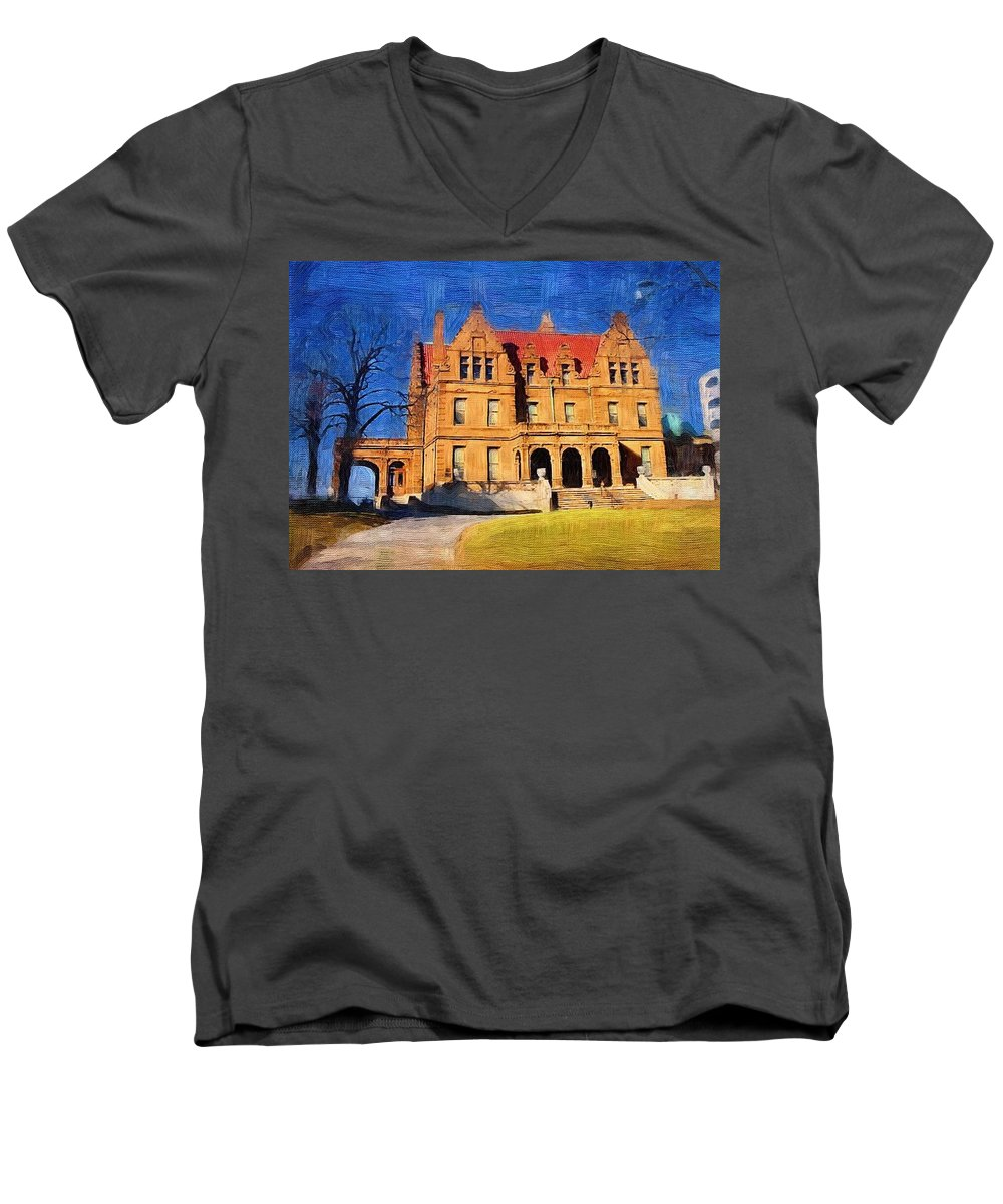 Architecture Men's V-Neck T-Shirt featuring the digital art Pabst Mansion by Anita Burgermeister