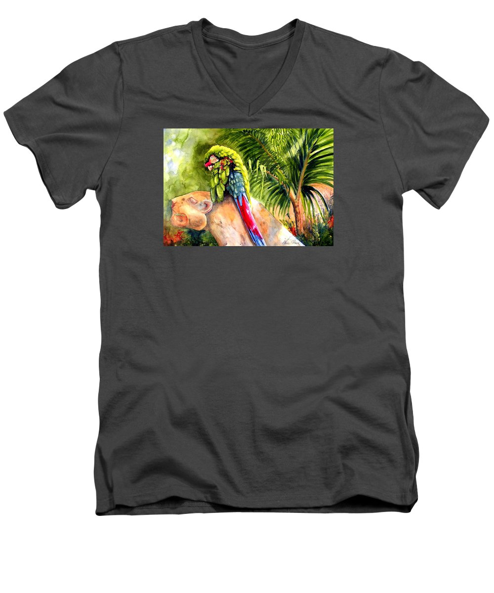 Parrot Men's V-Neck T-Shirt featuring the painting Pajaro by Karen Stark