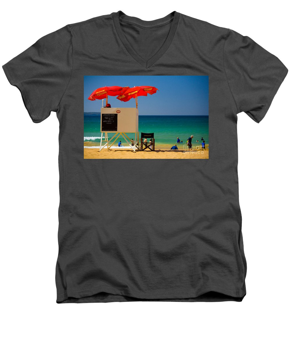 Palm Beach Sun Sea Sky Beach Umbrellas Men's V-Neck T-Shirt featuring the photograph Palm Beach Dreaming by Sheila Smart Fine Art Photography