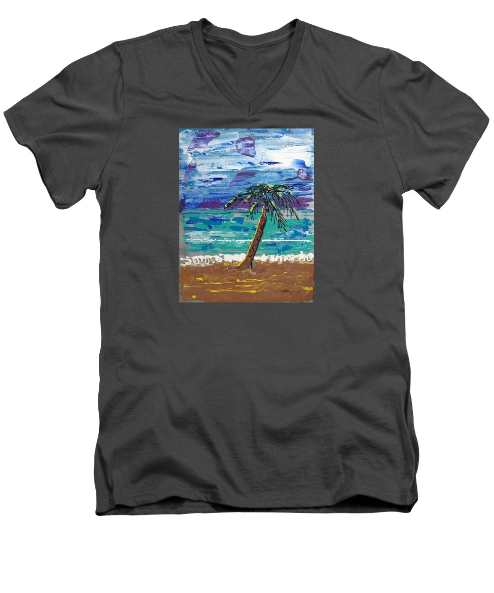 Palm Tree Men's V-Neck T-Shirt featuring the painting Palm Beach by J R Seymour