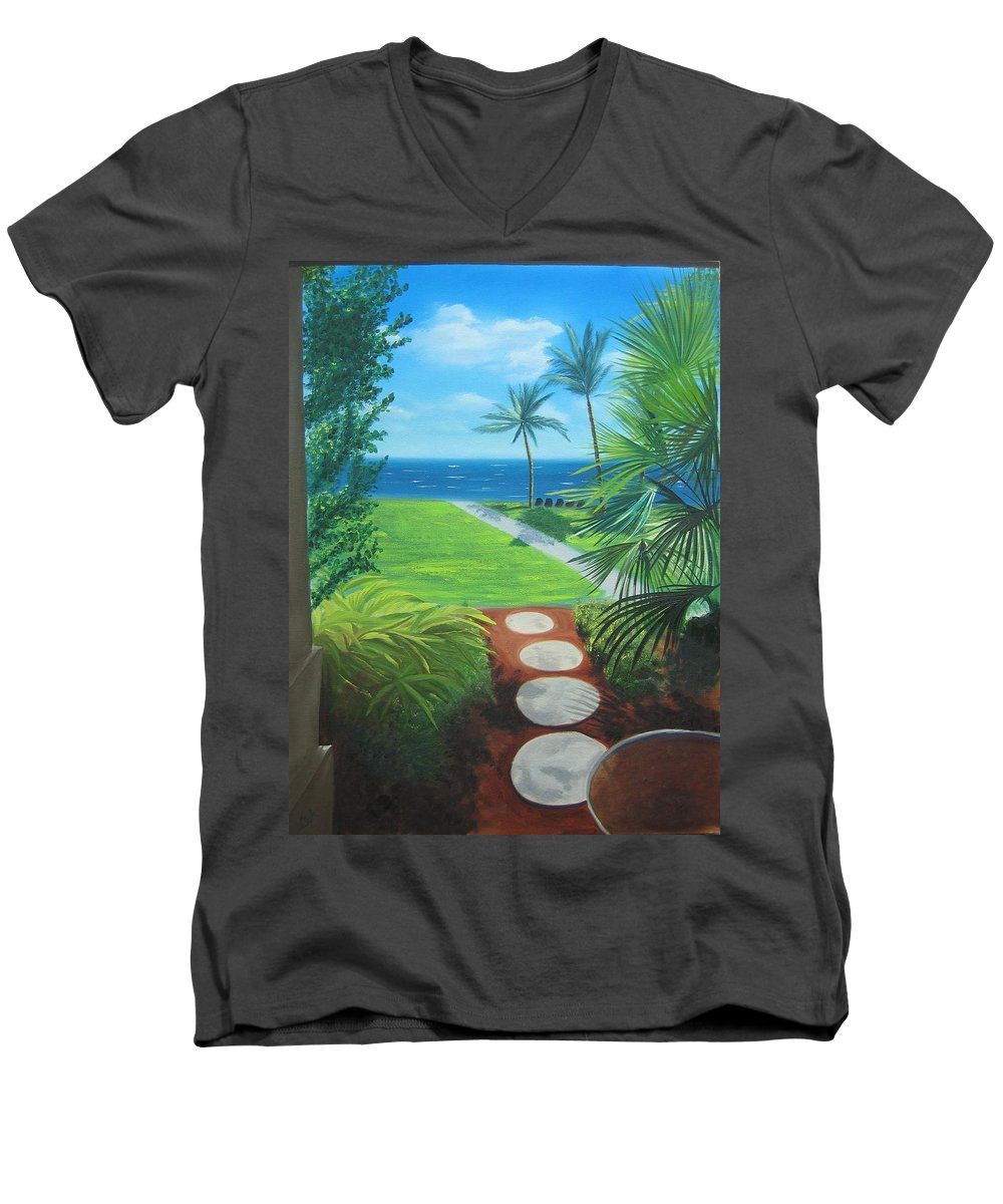 Seascape Men's V-Neck T-Shirt featuring the painting Paradise Beckons by Lea Novak