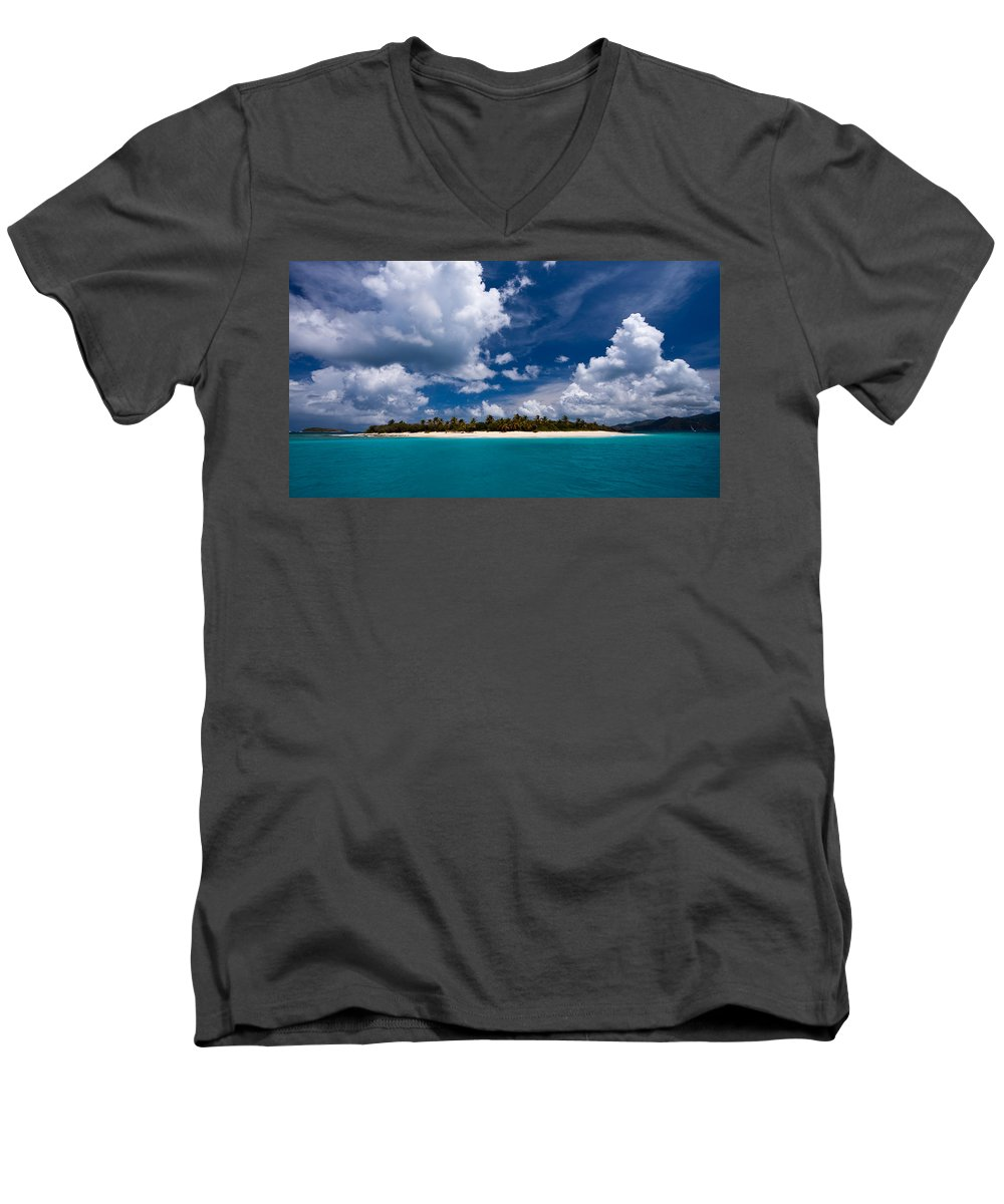 3scape Men's V-Neck T-Shirt featuring the photograph Paradise Is Sandy Cay by Adam Romanowicz