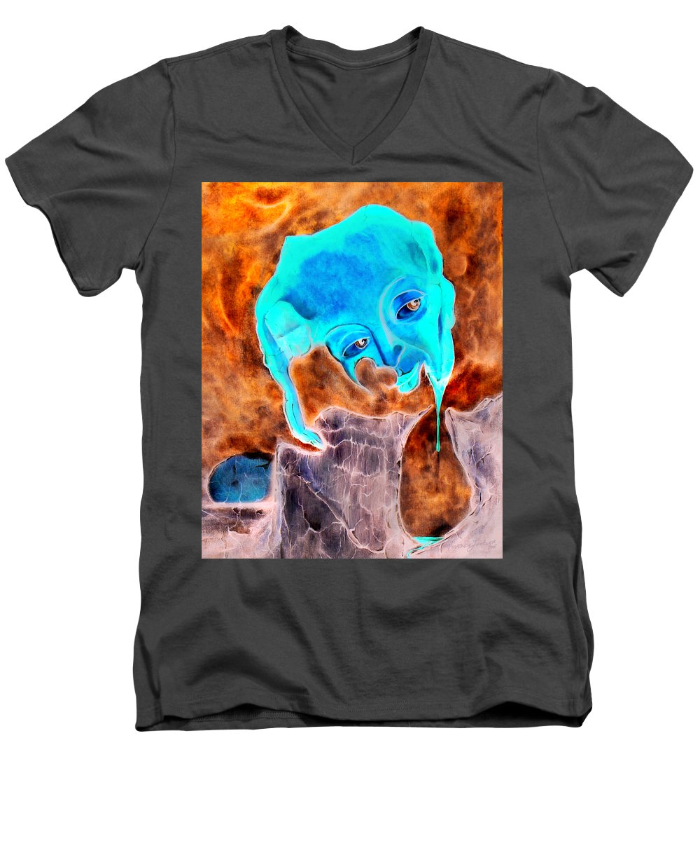 Red Blood Surrealism Color Men's V-Neck T-Shirt featuring the painting Paris H by Veronica Jackson