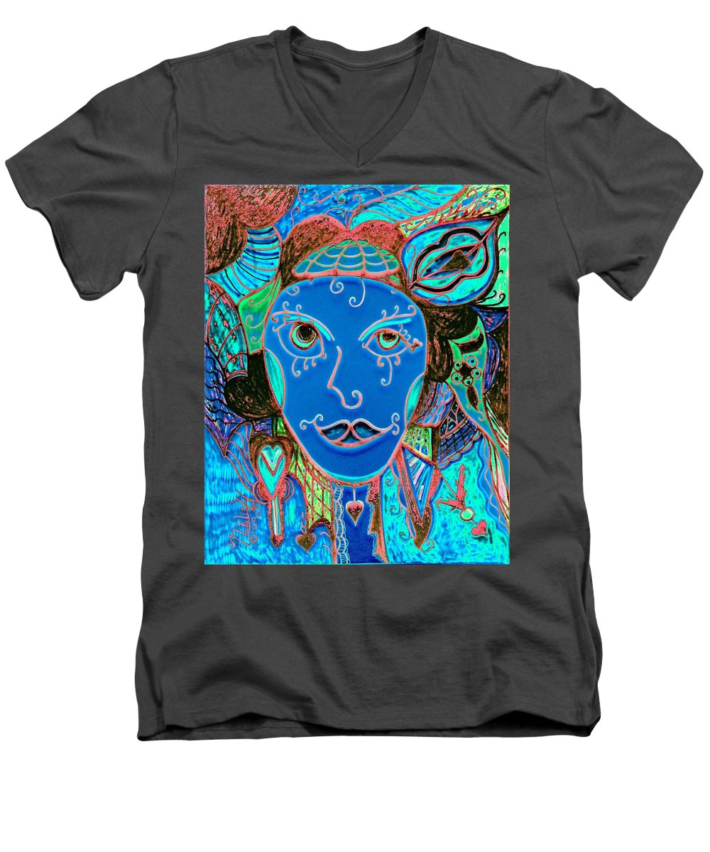 Party Girl Men's V-Neck T-Shirt featuring the painting Party Girl by Natalie Holland
