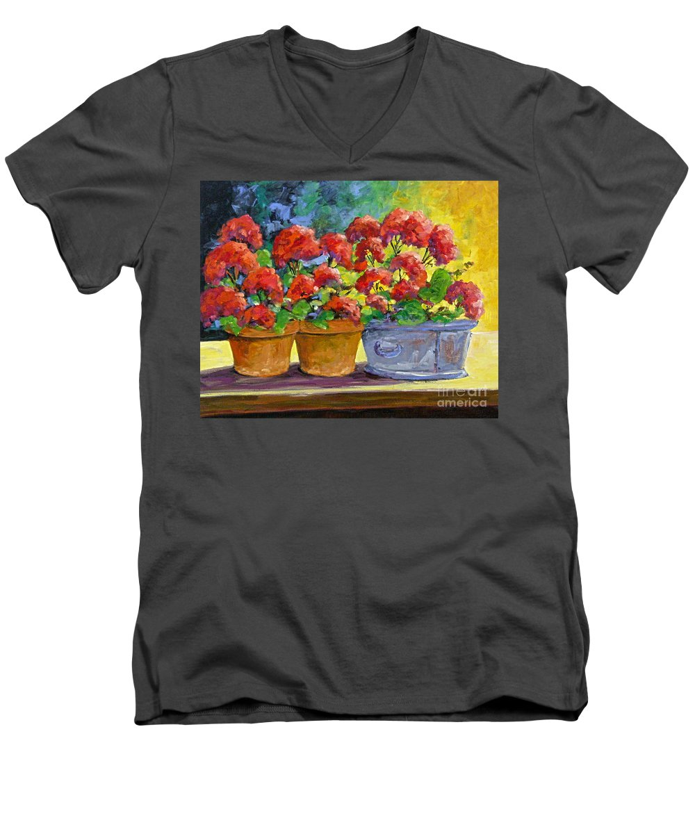 Still Life; Geraniums; Flowers; Terra Cotta; Red; Blue; Yellow; Green; Pranke; Men's V-Neck T-Shirt featuring the painting Passion In Red by Richard T Pranke