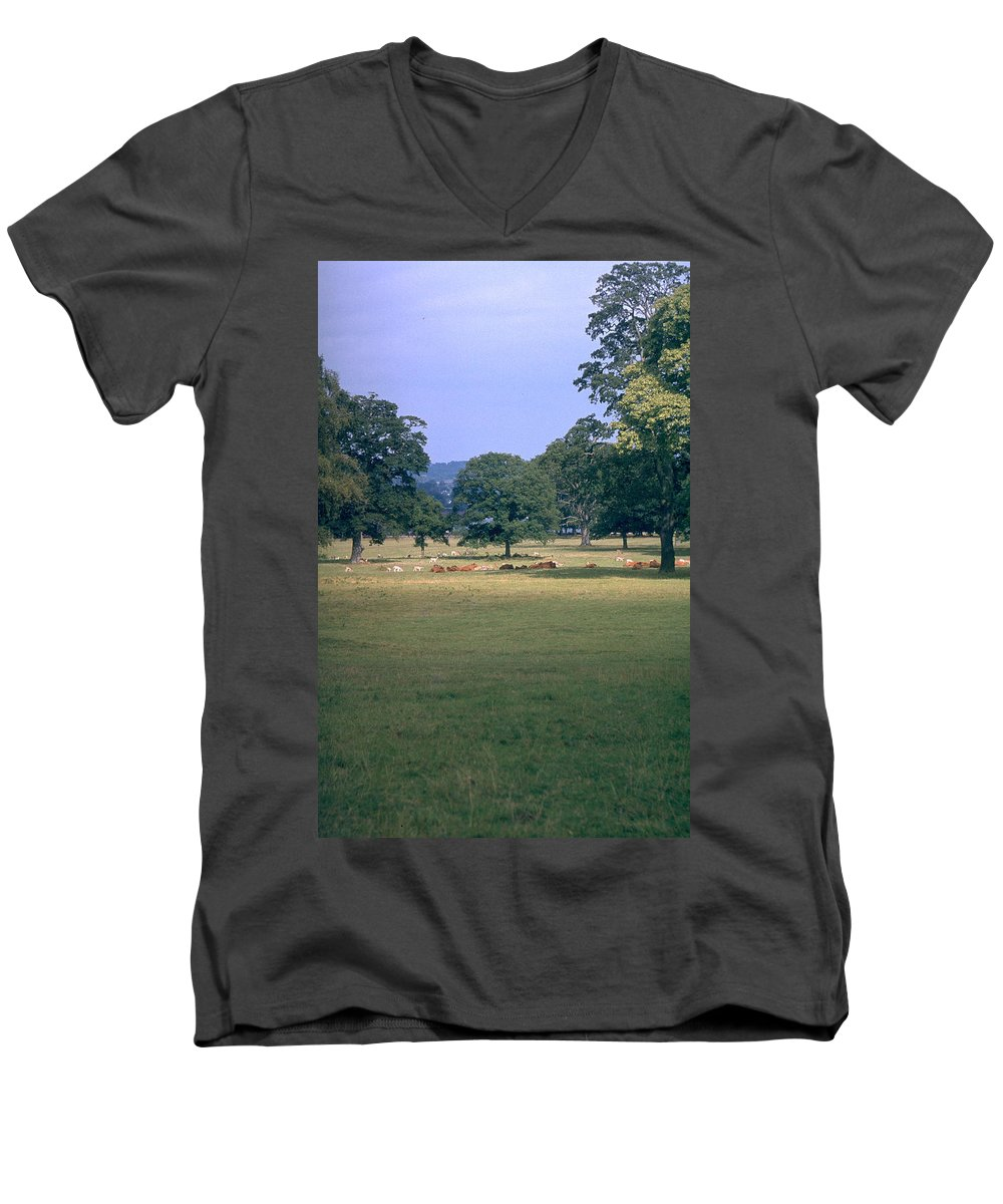 Great Britain Men's V-Neck T-Shirt featuring the photograph Pasture by Flavia Westerwelle